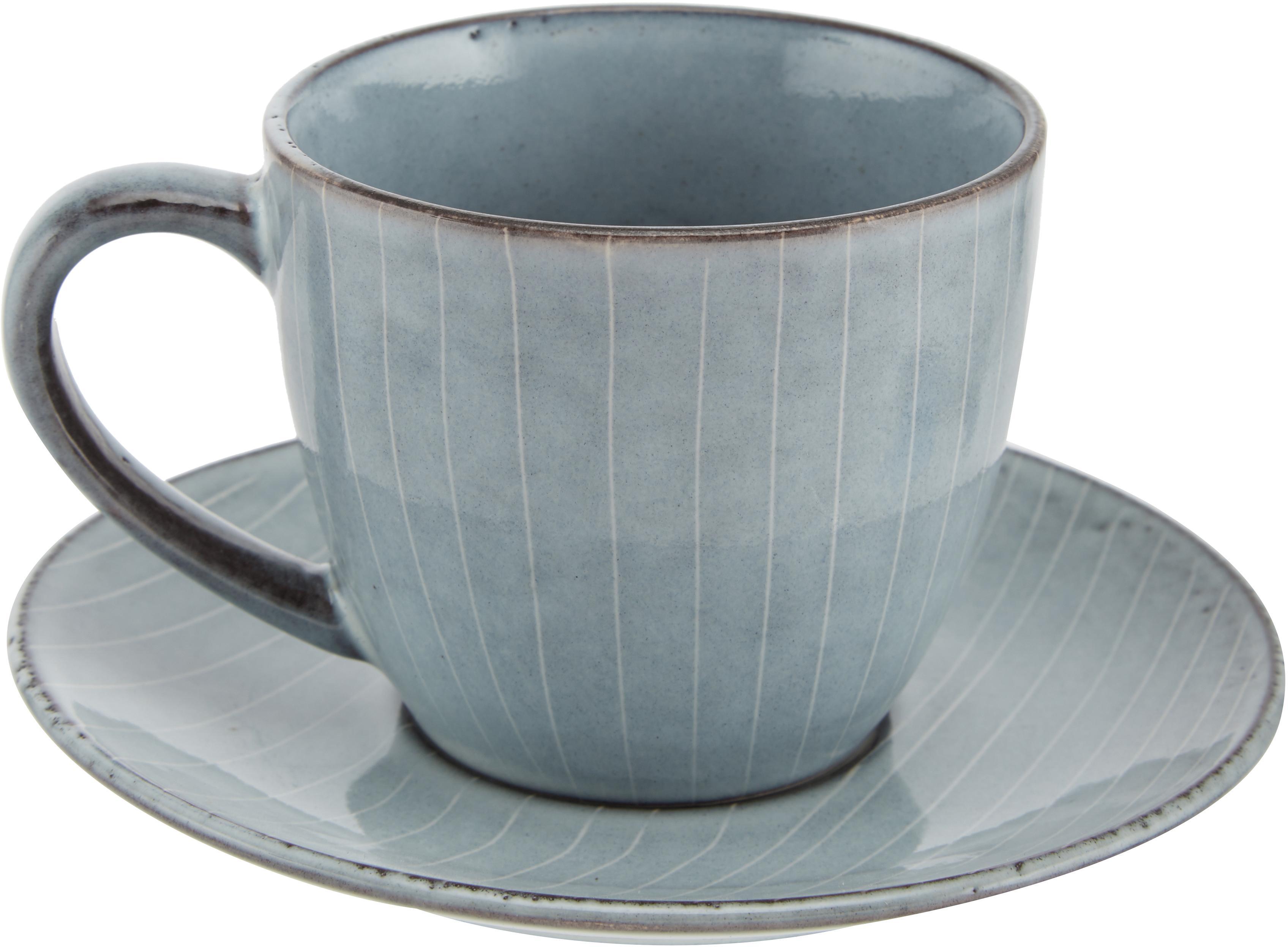 Taza artesanal Nordic Sea, 2pzas., Gres, Tonos grises y azules, Ø 14 x Al 9 cm