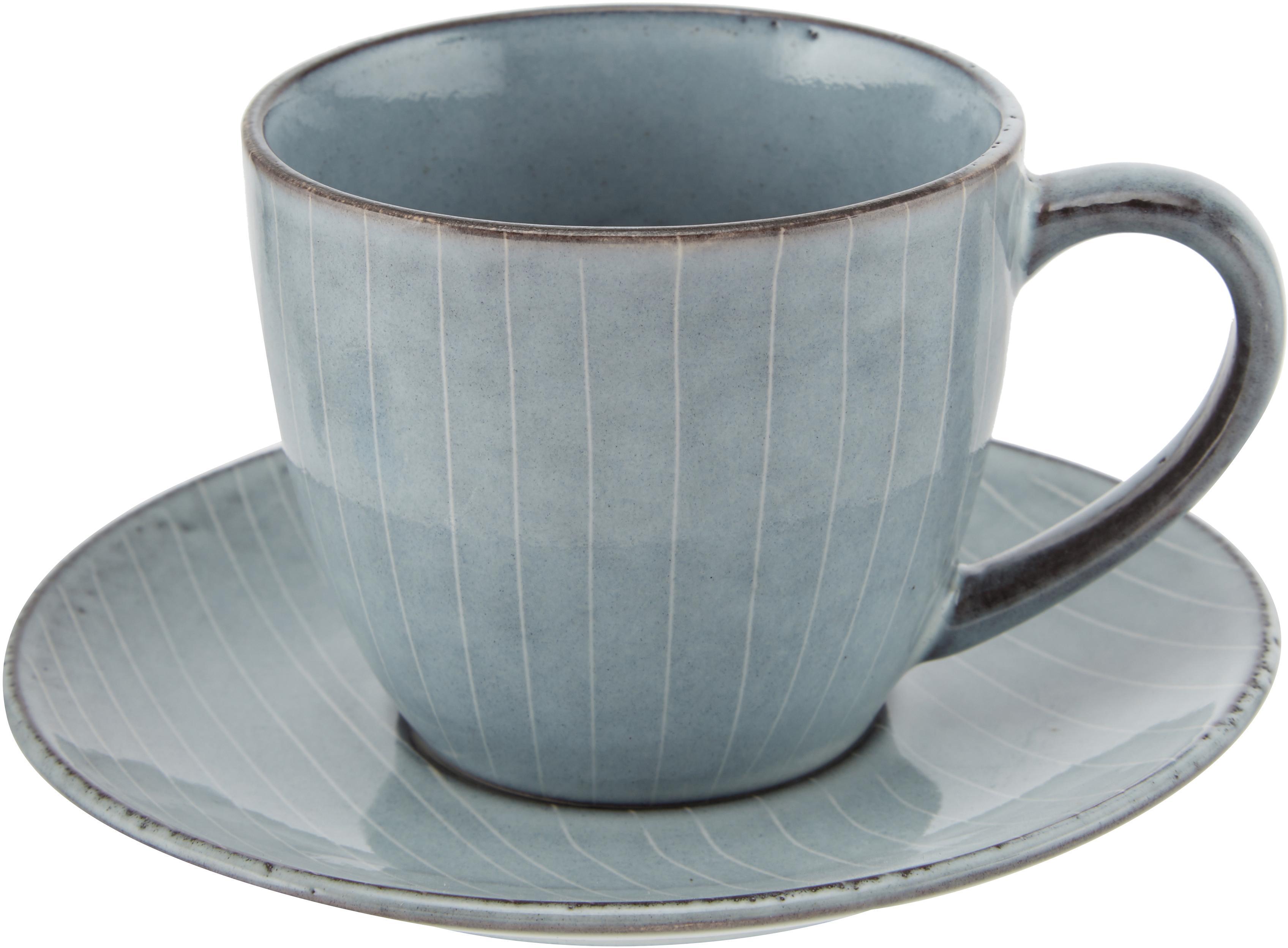 Handgemaakt kopje met schoteltje Nordic Sea, Keramiek, Grijs- en blauwtinten, Ø 14 x H 9 cm