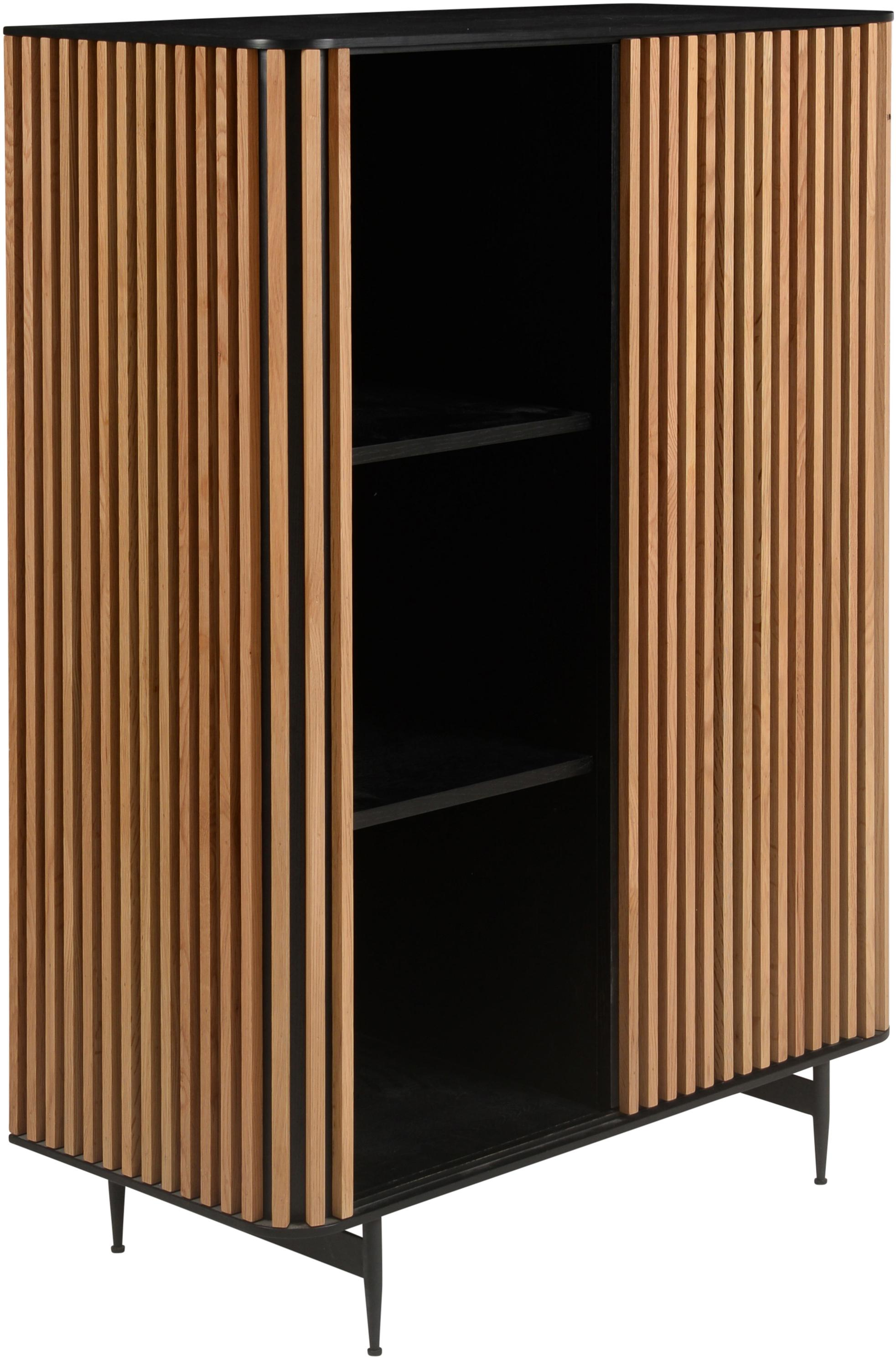 Wysoka komoda Linea, Korpus: płyta pilśniowa średniej , Nogi: metal lakierowany, Czarny, drewno dębowe, S 98 x W 135 cm