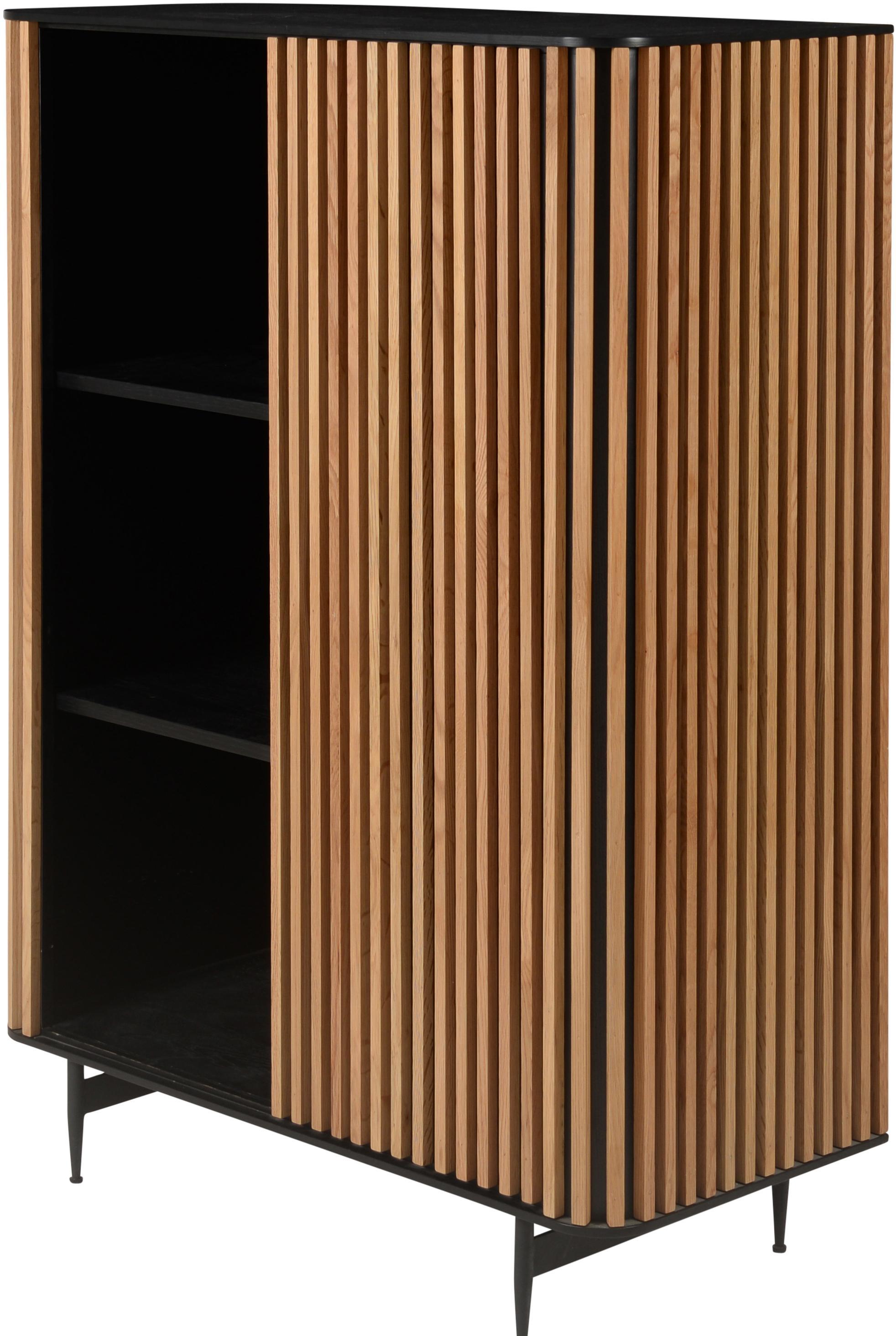 Design-Highboard Linea mit Eichenholzfurnier, Korpus: Mitteldichte Holzfaserpla, Füße: Metall, lackiert, Schwarz, Eichenholz, 98 x 135 cm