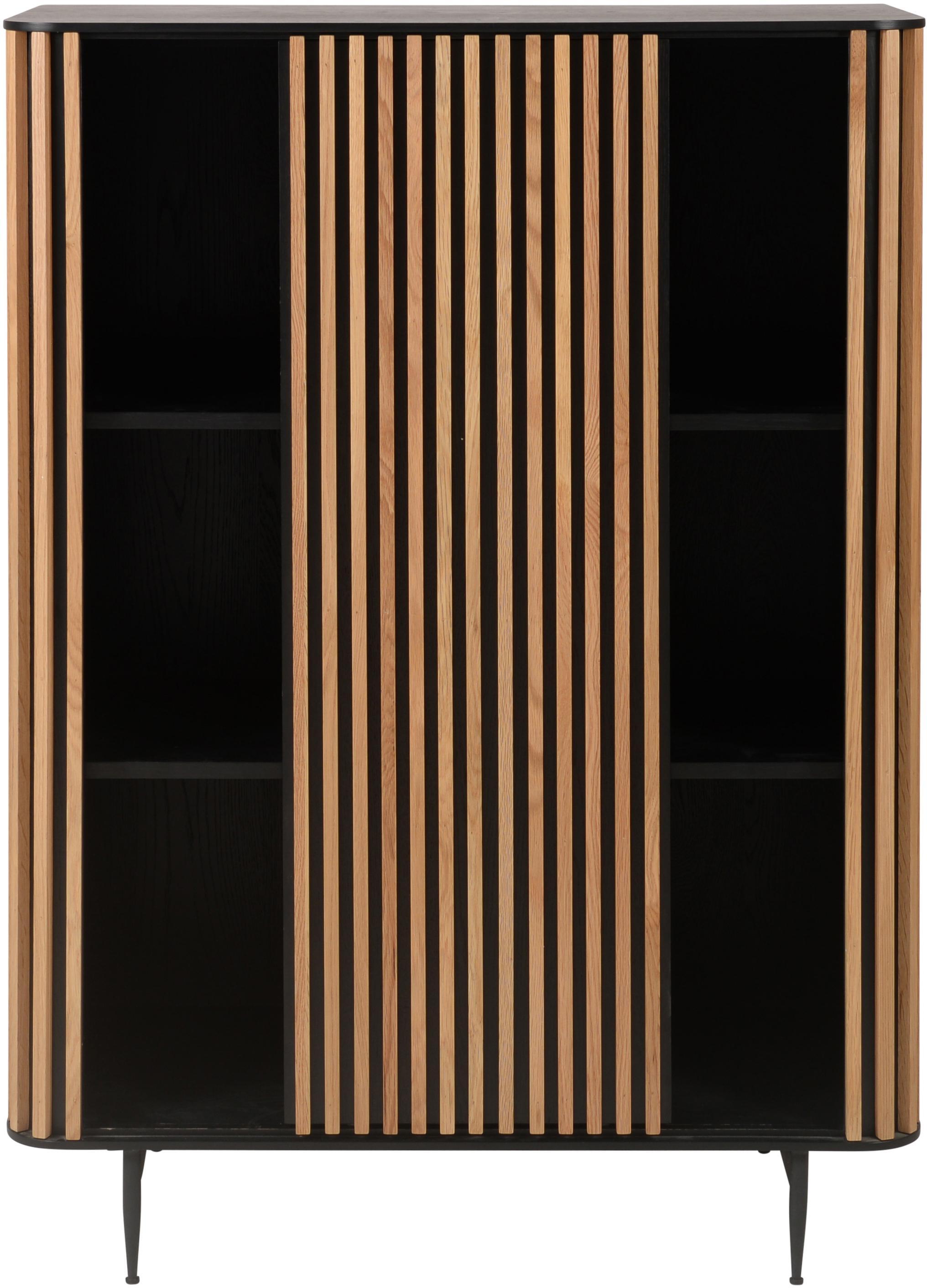 Credenza alta di design con finitura in quercia Linea, Piedini: metallo verniciato, Nero, legno di quercia, Larg. 98 x Alt. 135 cm