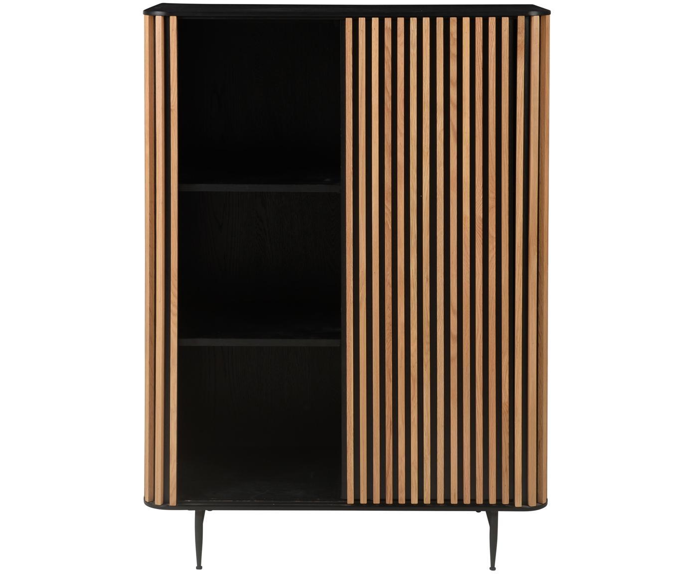 Design dressoir Linea met eikenhoutfineer, Frame: gelakt MDF met eikenhoutf, Poten: gelakt metaal, Zwart, eikenhoutkleurig, 98 x 135 cm