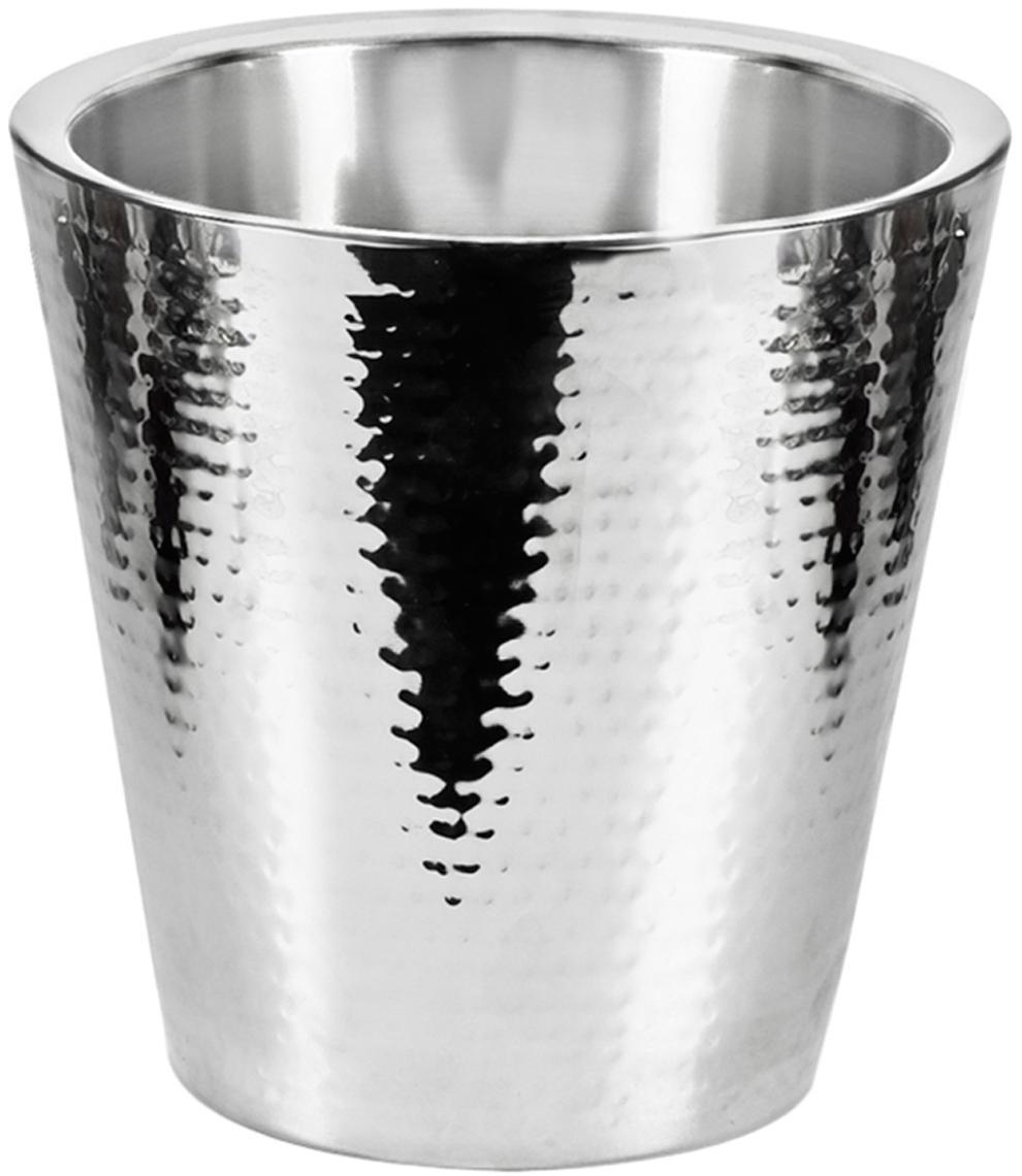 Flaschenkühler Valencia, gehämmert, Edelstahl, gehämmert, Silber, H 23 cm