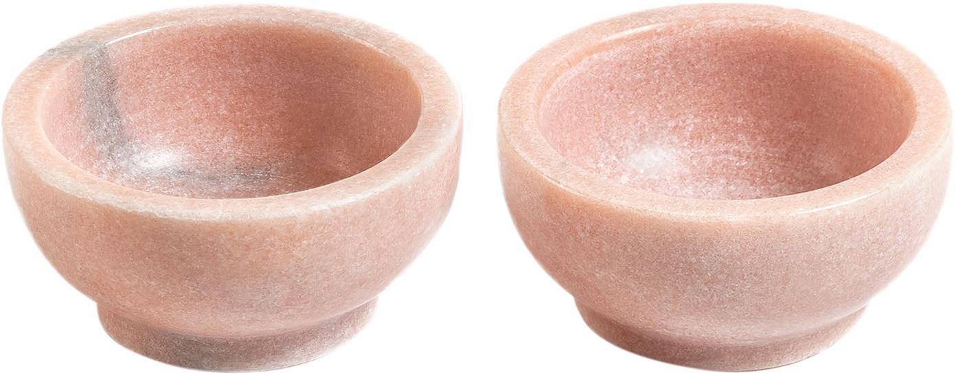 Miska z marmuru Callhan, 2 szt., Ceramika, marmur, Blady różowy, marmurowy, Ø 8 cm