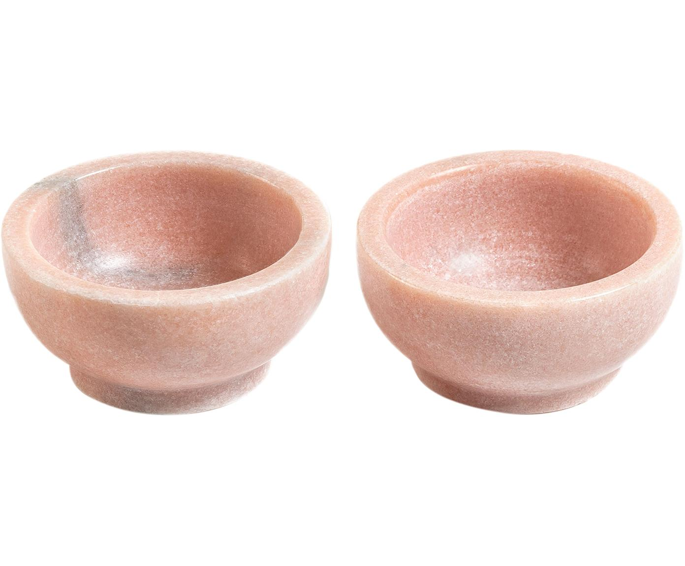 Ciotola in marmo Callhan, 2 pz., Ceramica, marmo, Rosa, marmorizzato, Ø 8 cm