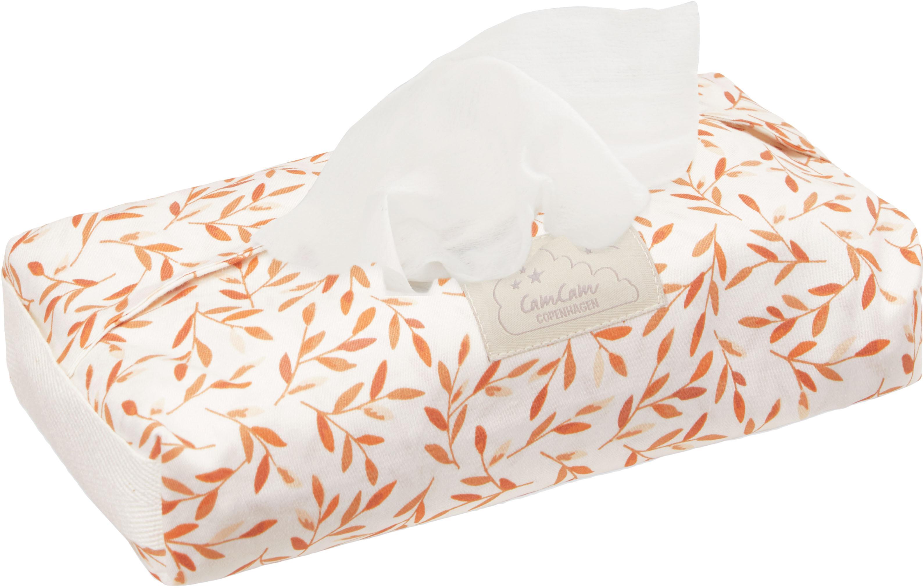 Feuchttücherbezug Leaves aus Bio-Baumwolle, Bezug: 100% Bio-Baumwolle, GOTS-, Griff: 100% Leinen, Cremefarben, Orange, 25 x 5 cm