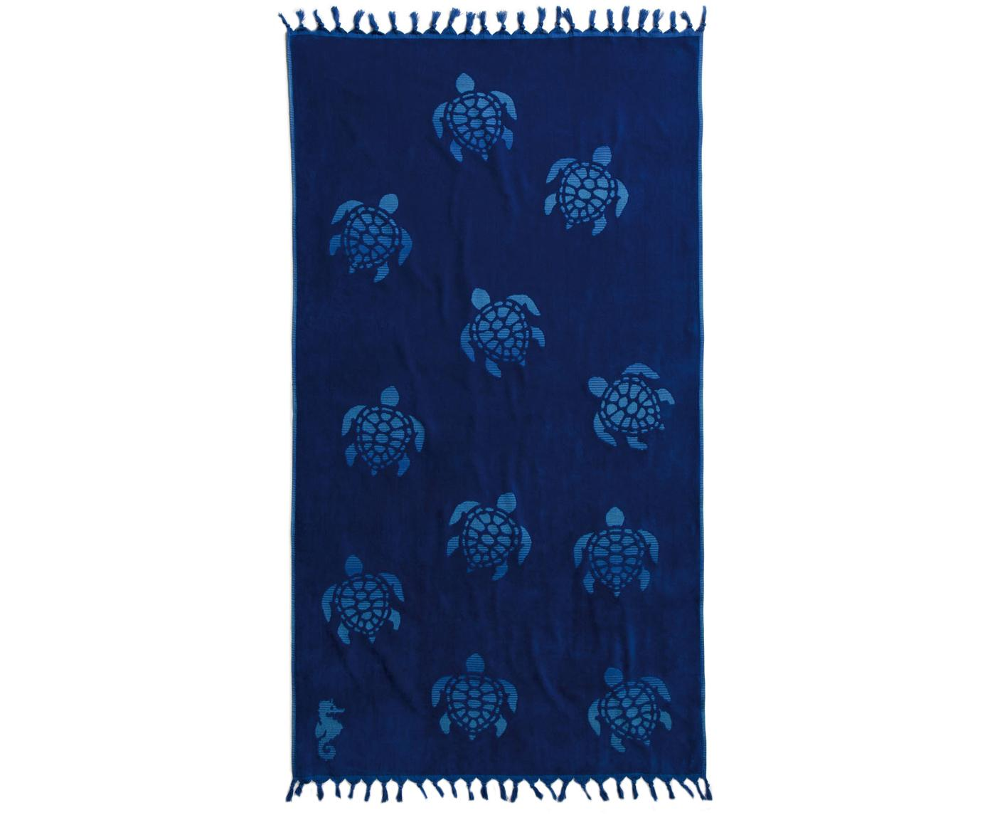 Telo fouta in cotone Tartaruga, Cotone, Blu scuro, Larg. 100 x Lung. 180 cm