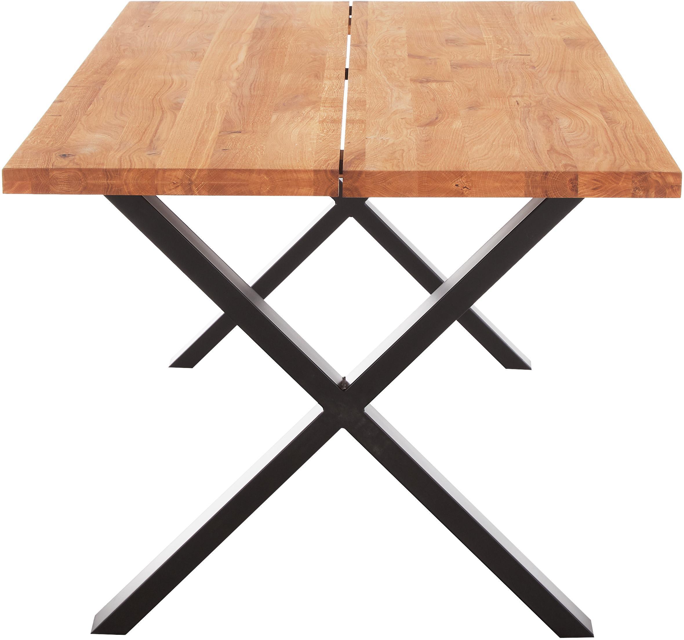 Esstisch Montpellier mit Massivholzplatte, Tischplatte: Massives Eichenholz, geöl, Gestell: Stahl, pulverbeschichtet, Eichenholz, Schwarz, B 200 x T 95 cm