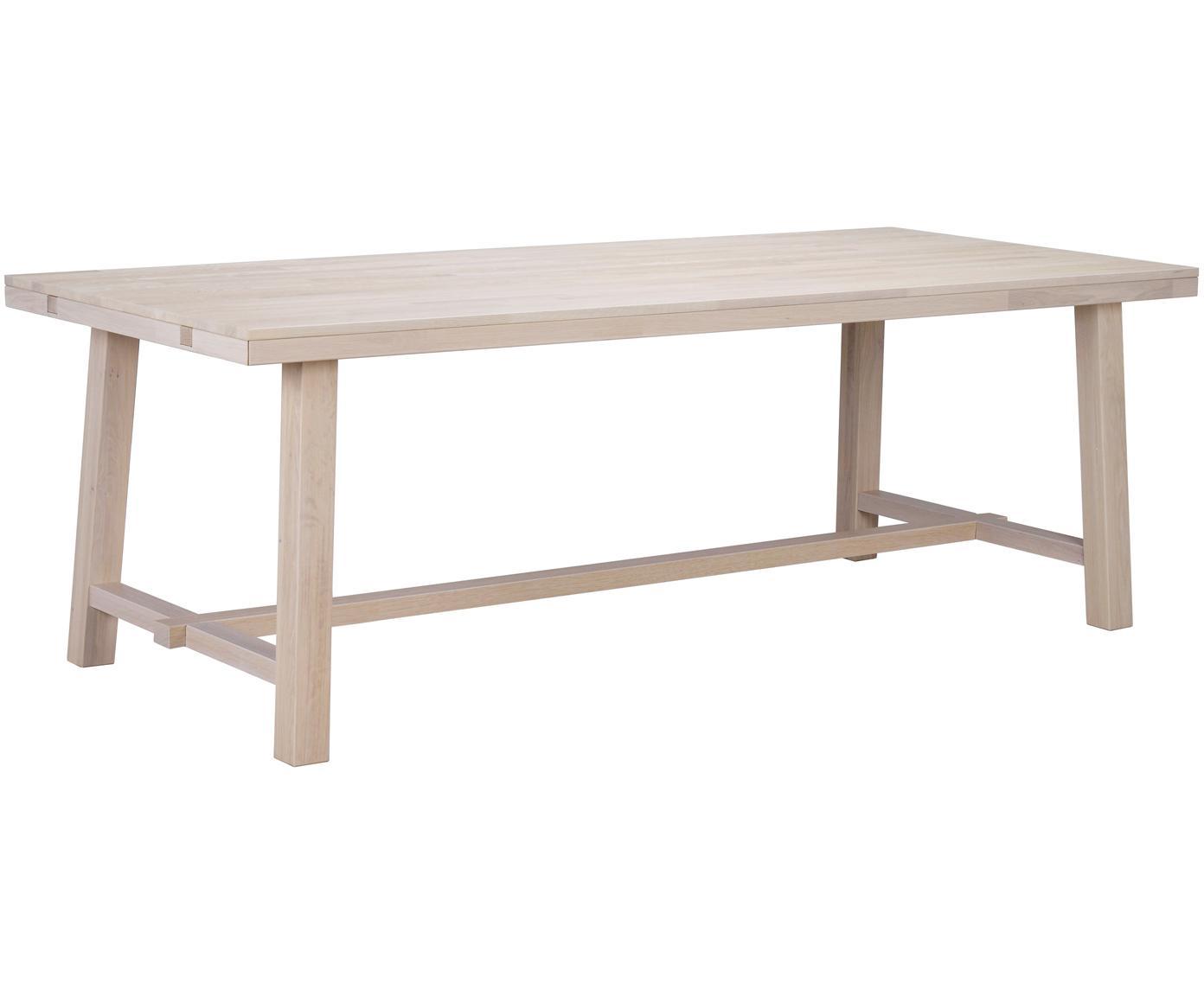 Duży stół do jadalni z litego drewna  Brooklyn, Masywne drewno dębowe, bielone i olejowane, Drewno dębowe, biały postarzany, 220 x 95 cm