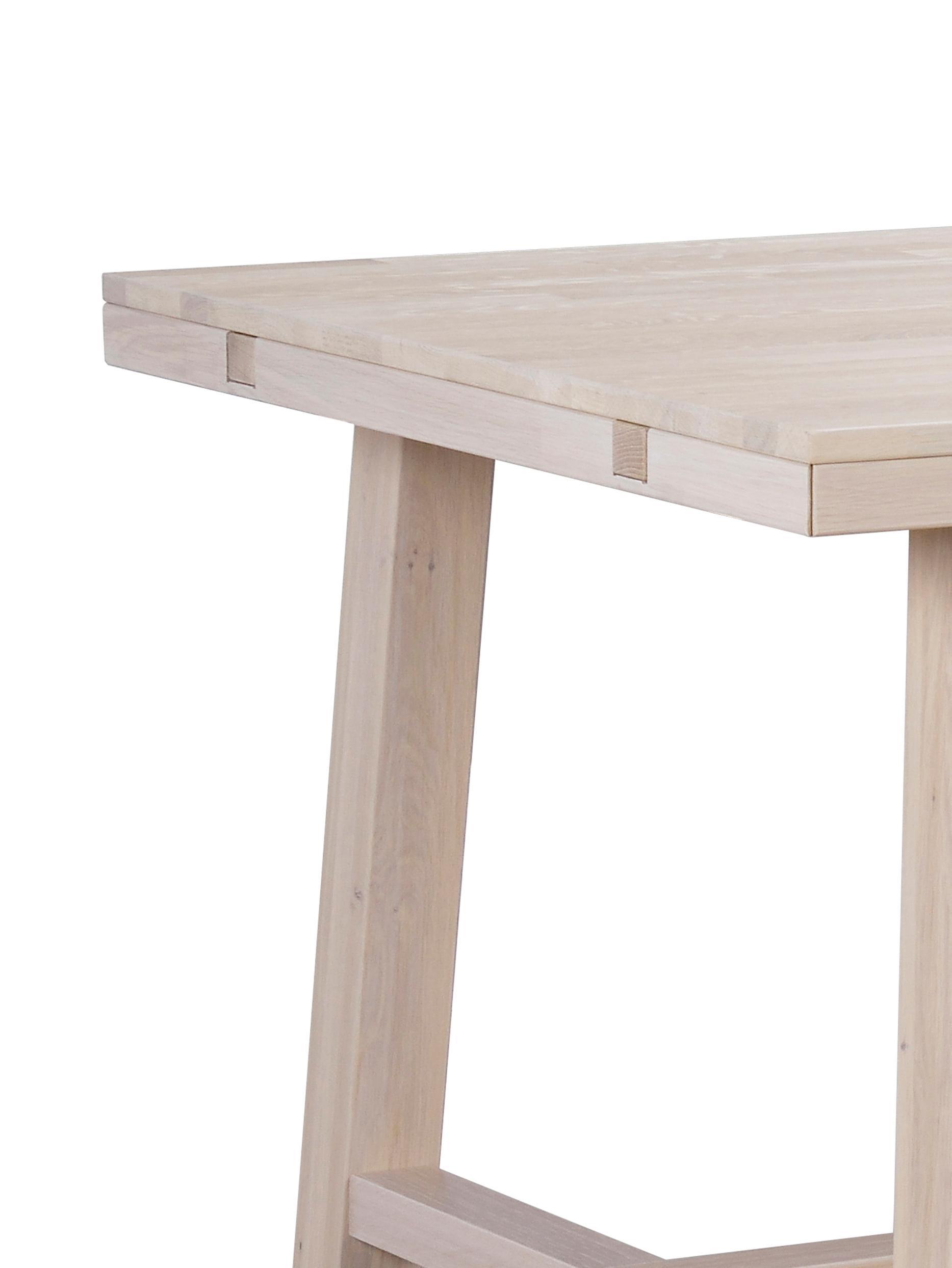Grosser Massivholz Esstisch Brooklyn, Massives Eichenholz, weiss gewaschen und geölt, Eiche, weiss gewaschen, B 220 x T 95 cm