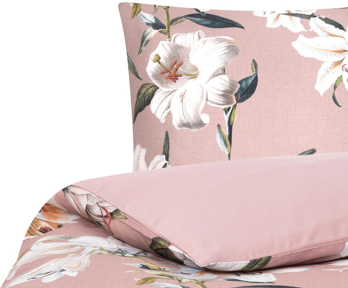Baumwollsatin-Bettwäsche Flori mit Blumen-Print, Webart: Satin Fadendichte 210 TC,, Vorderseite: Altrosa, CremeweißRückseite: Alrosa, 155 x 220 cm + 1 Kissen 80 x 80 cm
