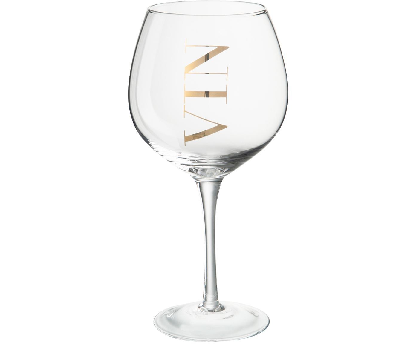 Kieliszek do wina Vin, 6 szt., Szkło, Transparentnyny, złoty, Ø 10 x 20 cm