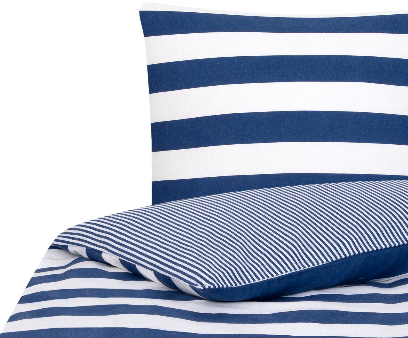 Dwustronna pościel z cienkiej flaneli Tyler, Biały, ciemnyniebieski, 135 x 200 cm