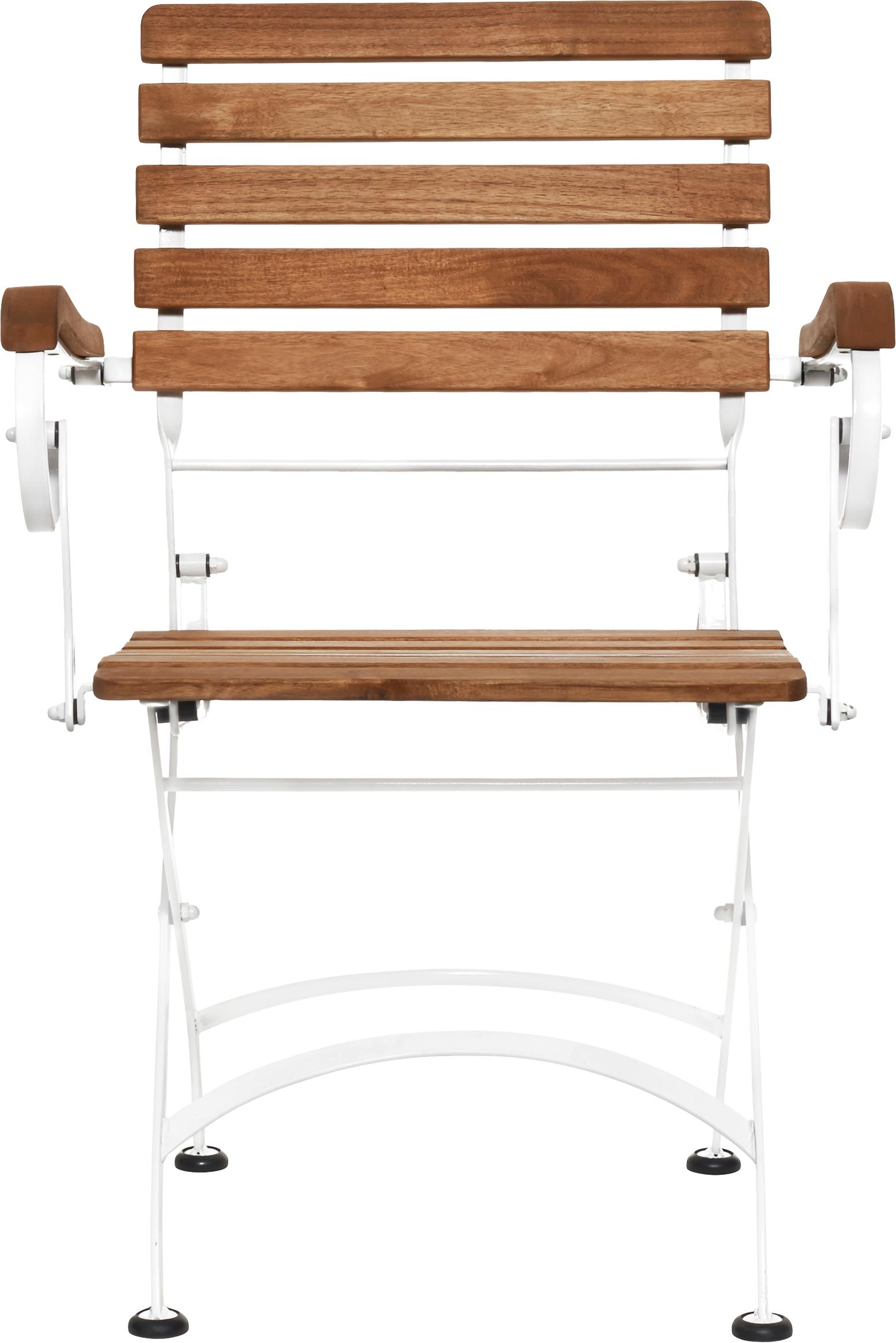 Garten-Klappstühle Parklife mit Armlehnen, 2 Stück, Sitzfläche: Akazienholz, geölt, Gestell: Metall, verzinkt, pulverb, Weiß, Akazienholz, B 59 x T 52 cm