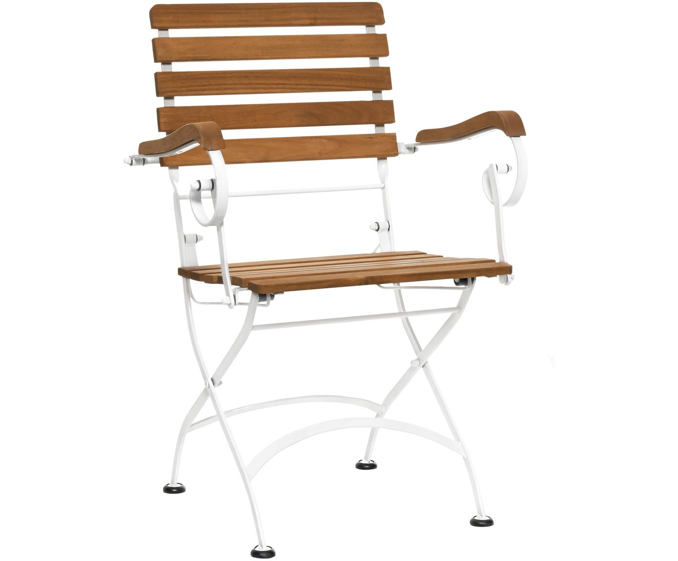 Sillas plegables con reposabrazos Parklife, 2uds., Asiento: madera de acacia aceitada, Estructura: metal galvanizado con pin, Blanco, madera de acacia, An 59x F 52 cm