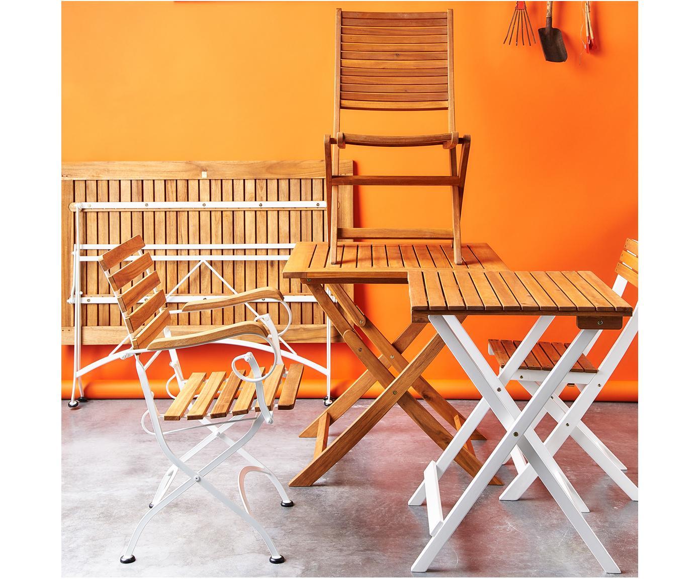 Klapstoelen Parklife met armleuningen, 2 stuks, Zitvlak: geolied acaciahout, ®FSC-, Frame: verzinkt en gepoedercoat , Wit, acaciahoutkleurig, B 59 x D 52 cm