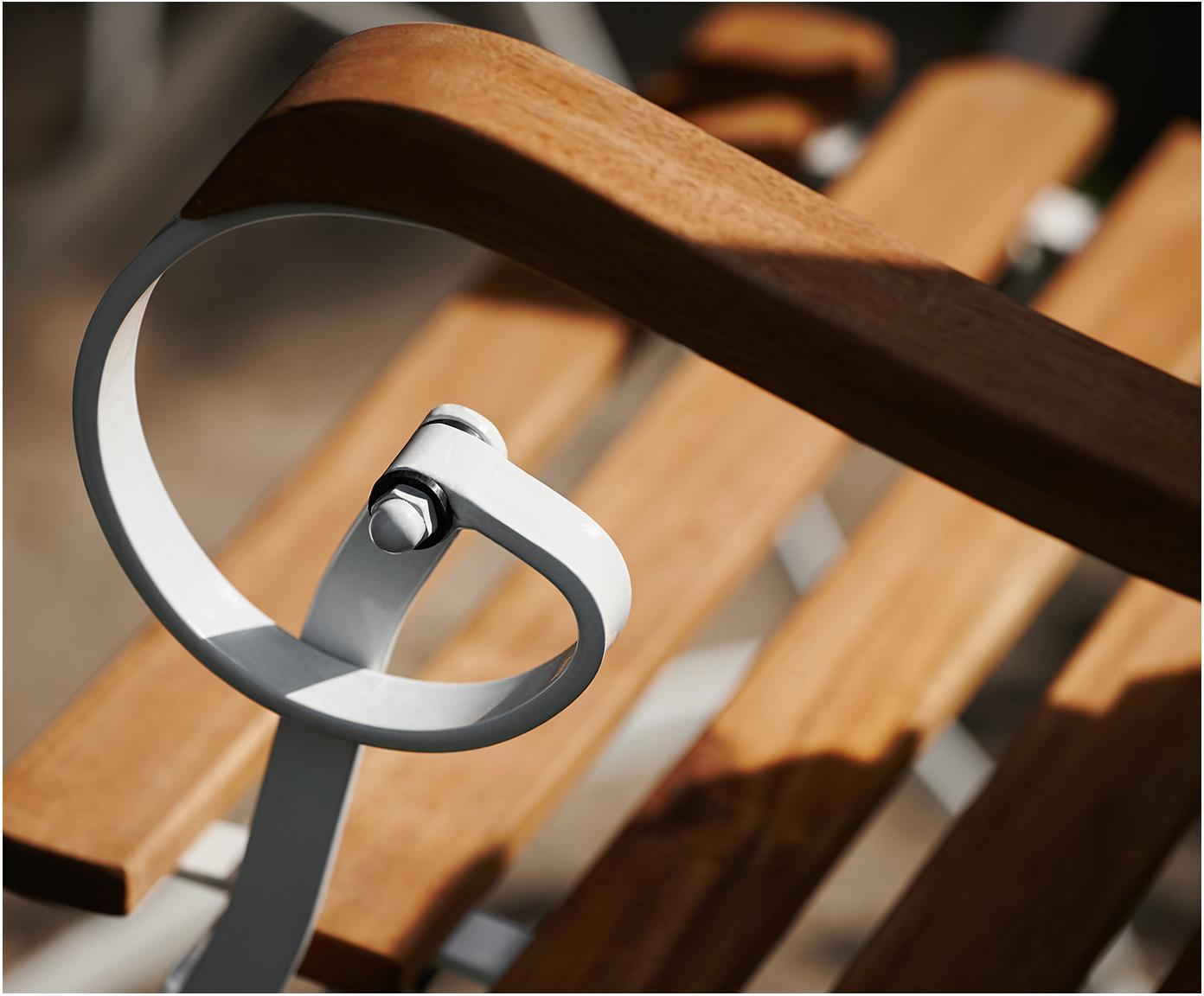 Składane krzesło ogrodowe z podłokietnikami Parklife, 2 szt., Stelaż: metal ocynkowany, malowan, Biały, drewno akacjowe, S 59 x G 52 cm