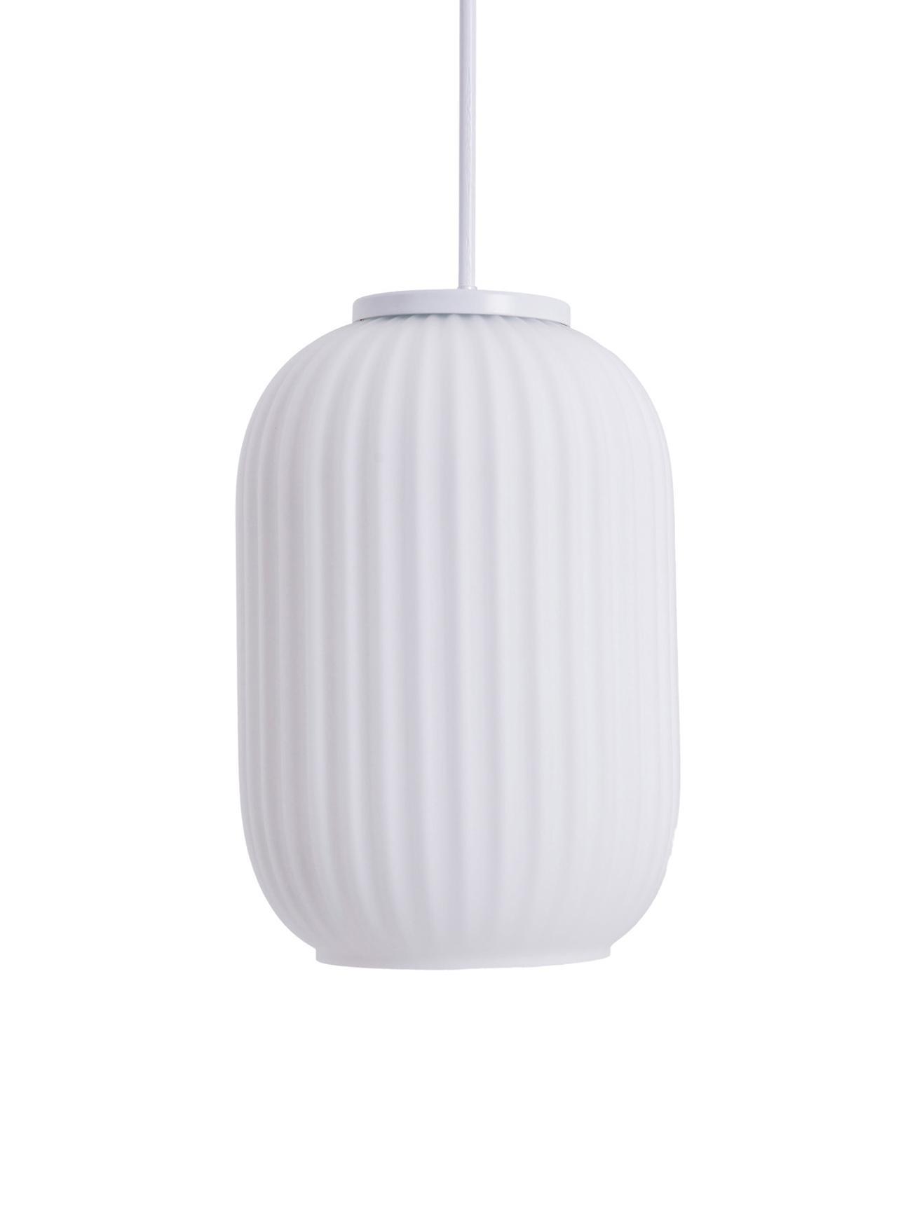 Lámpara de techo pequeña Geneva, Vidrio, Blanco, F 14 cm x Al 120 cm