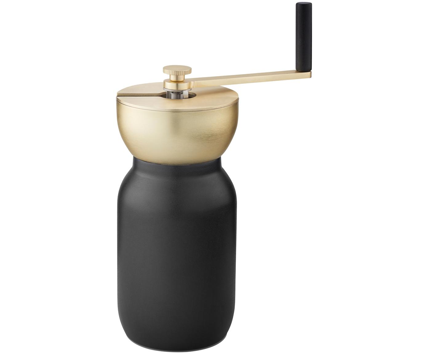 Kaffeemühle Collar in Schwarz/Gold, Edelstahl teflonbeschichtet, Messing, Schwarz, Ø 10 x H 18 cm