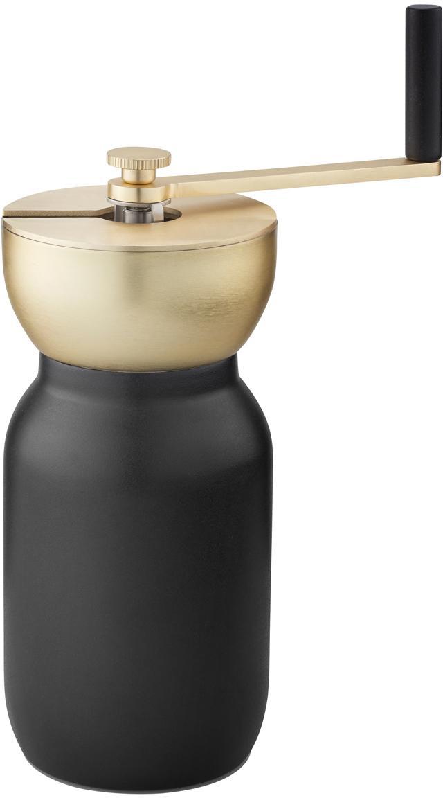 Koffiemolen Collar in zwart/goudkleurig, Edelstaal met teflon coating, messing, Zwart, Ø 10 x H 18 cm