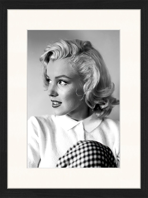 Ingelijste digitale print Marilyn Monroe, Afbeelding: digitale print op papier,, Lijst: gelakt hout, Zwart, wit, 33 x 43 cm