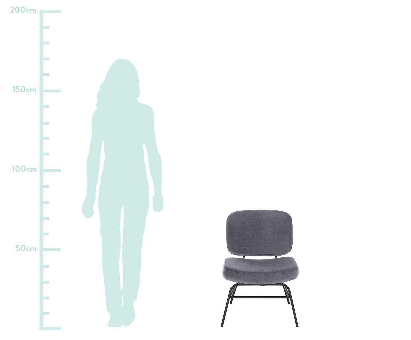 Fotel tapicerowany z aksamitu Malte, Tapicerka: aksamit (poliester) 2000, Nogi: metal malowany proszkowo, Tapicerka: ciemny szary Nogi: czarny matowy, S 58 x G 71 cm