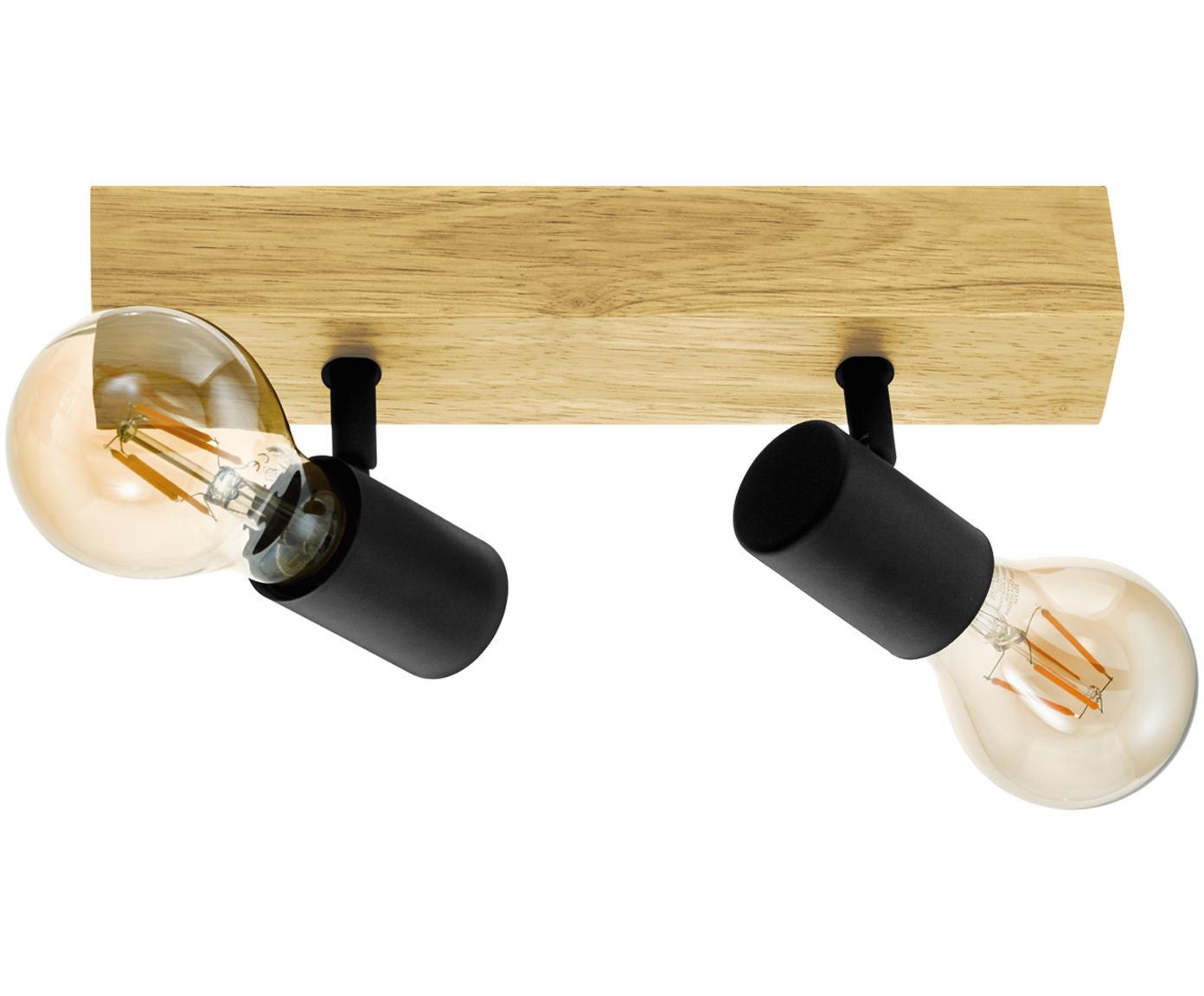 Lampa sufitowa Townshend, Czarny, drewno naturalne, S 30 x W 13 cm