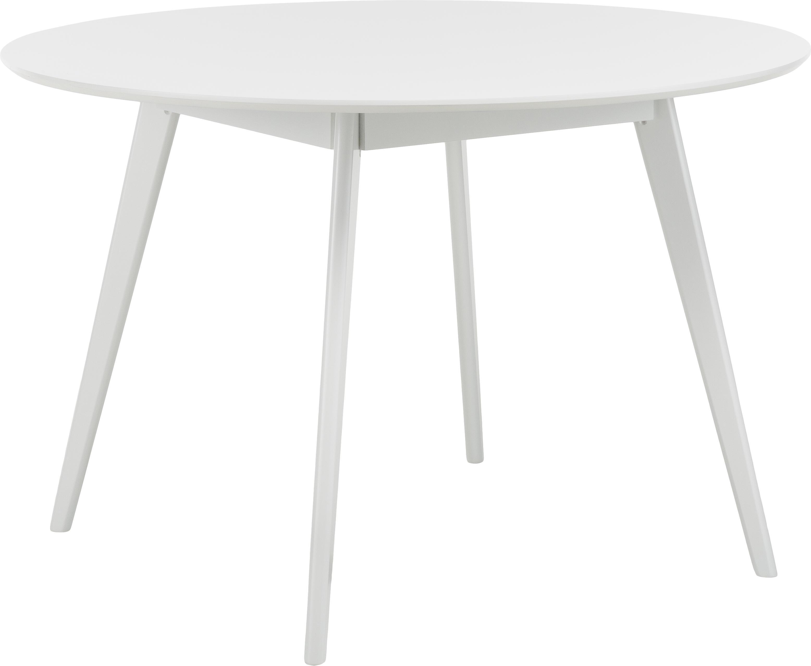 Okrągły stół do jadalni Yumi, Blat: płyta pilśniowa średniej , Nogi: drewno kauczukowe, masywn, Biały, Ø 115 cm