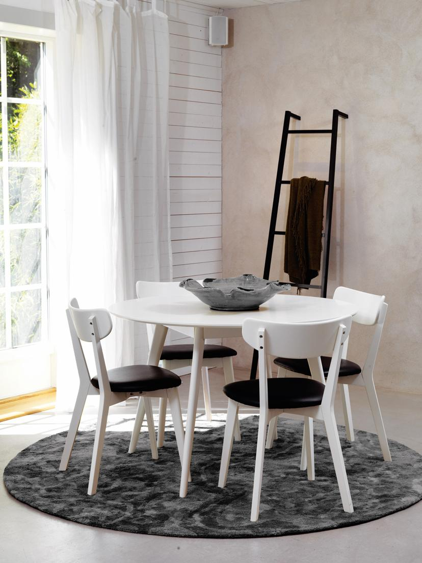 Ronde houten eettafel Yumi, Tafelblad: MDF met gelakt eikenhoutf, Poten: massief en gelakt rubberh, Wit, Ø 115 cm
