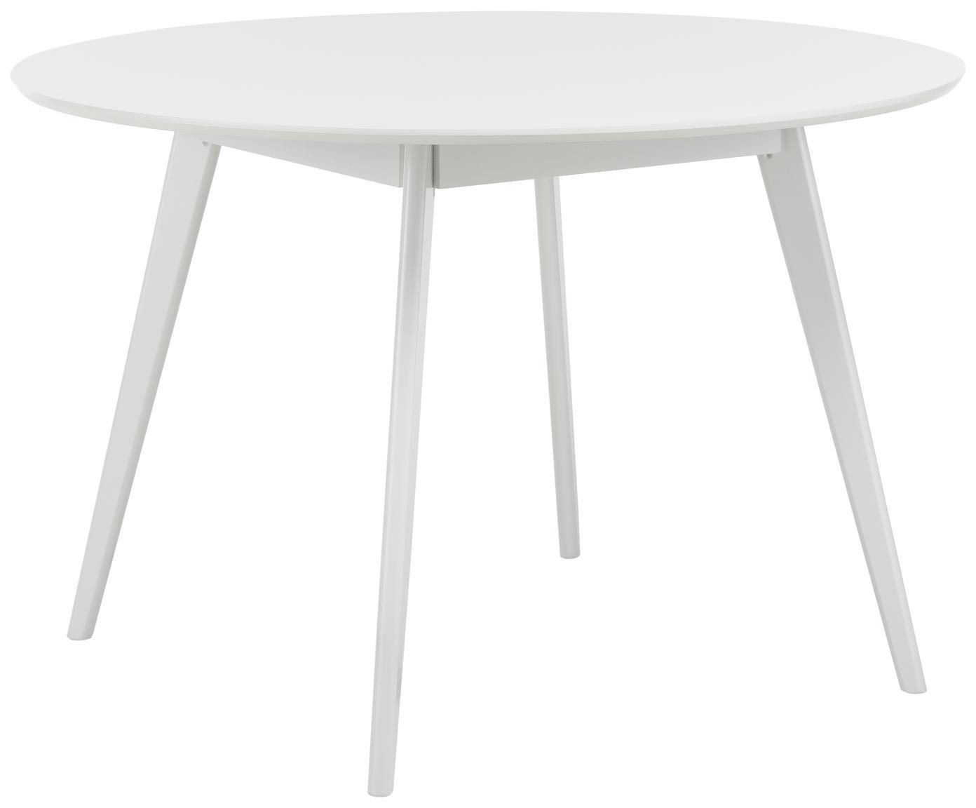 Tavolo rotondo in legno Yumi, Piano d'appoggio: pannello di fibra a media, Gambe: caucciù massello e vernic, Bianco, Ø 115 cm