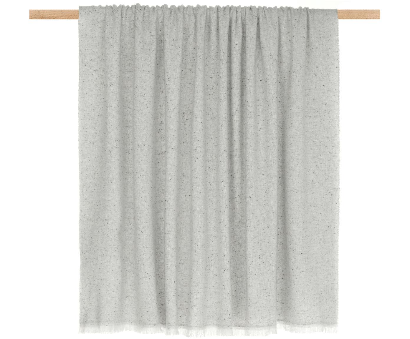 Grau meliertes Wollplaid Ionio, 48%Wolle, 25%Polyamid, 12%Viskose, 10%Seide, 5%Kaschmir, Grau, meliert, 130 x 170 cm