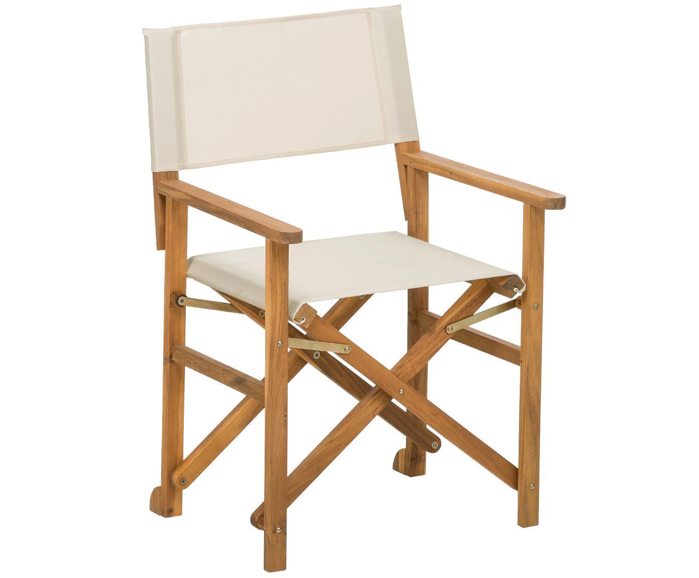 Krzesło reżysera Zoe, Stelaż: drewno akacjowe, olejowan, Biały, S 59 x G 91 cm