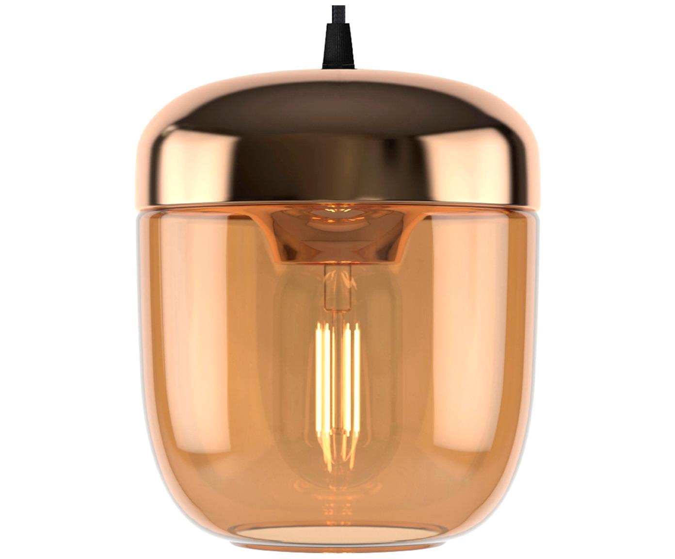 Lámpara de techo pequeña Acorn, Anclaje: silicona, Cable: cubierto en tela, Bronce, ámbar, Ø 14 x Al 16 cm