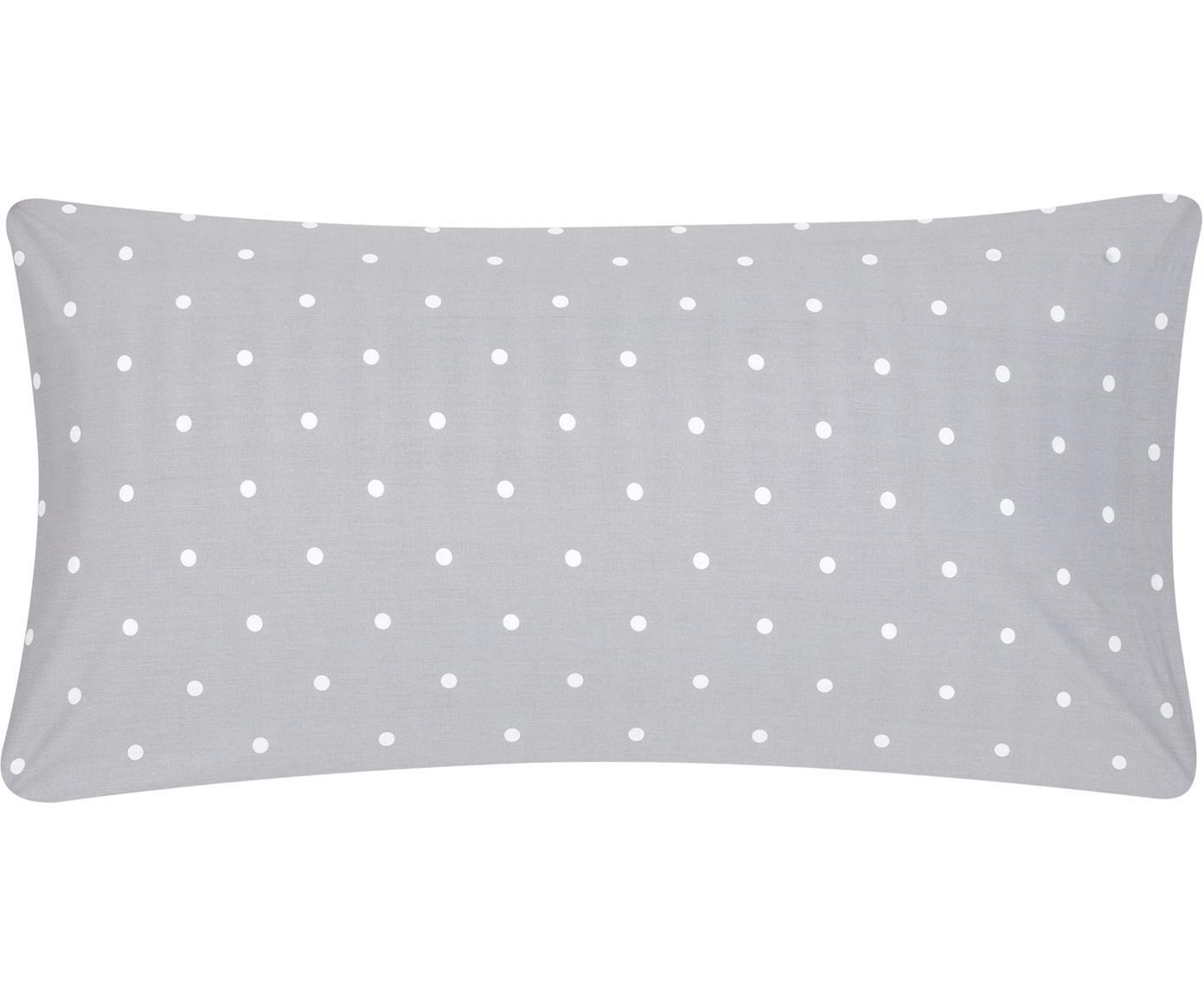 Gepunktete Baumwoll-Kissenbezüge Dotty in Grau/Weiß, 2 Stück, Webart: Renforcé Fadendichte 144 , Grau, Weiß, 40 x 80 cm