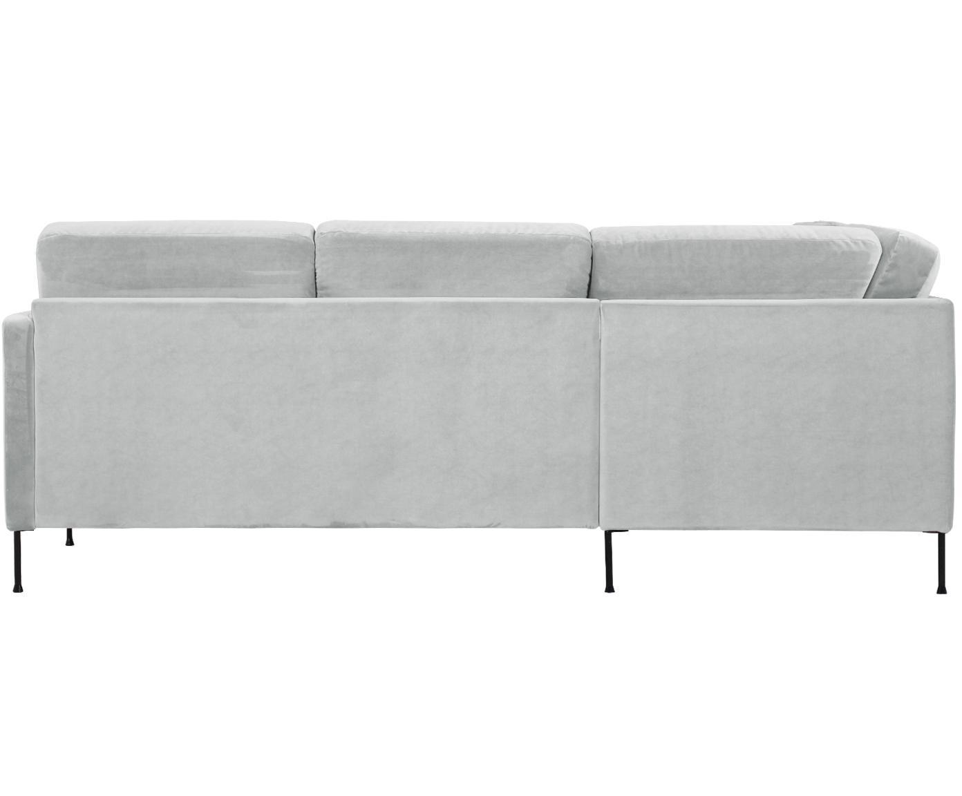 Sofa narożna z aksamitu Fluente, Tapicerka: aksamit (wysokiej jakości, Stelaż: lite drewno sosnowe, Nogi: metal lakierowany, Aksamitny jasny szary, S 221 x G 200 cm