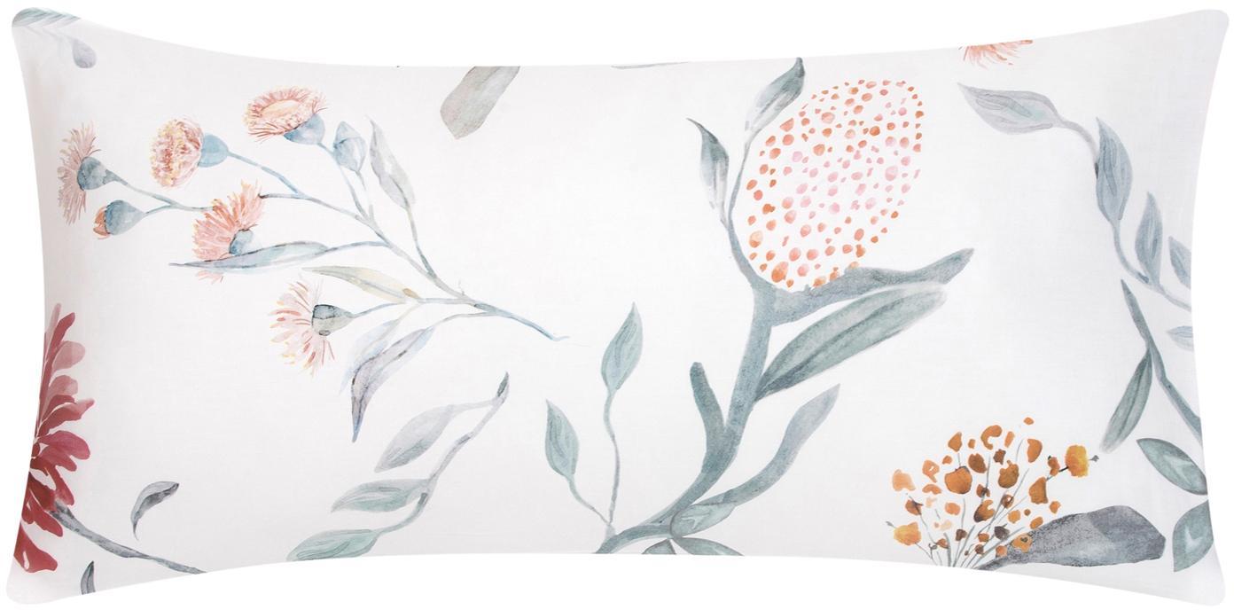 Baumwollsatin-Kissenbezüge Evie mit Aquarell Blumen-Muster, 2 Stück, Webart: Satin Fadendichte 210 TC,, Vorderseite: Floraler DruckRückseite: Weiß, 40 x 80 cm