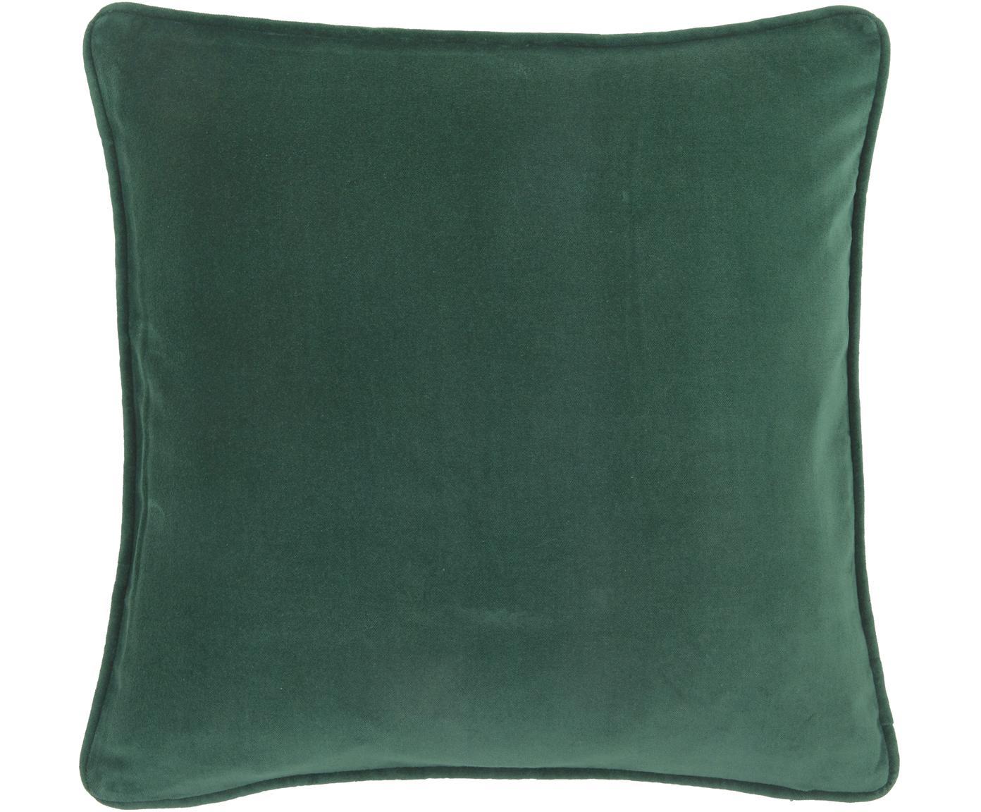 Effen fluwelen kussenhoes Dana in smaragdgroen, Katoenfluweel, Smaragdgroen, 50 x 50 cm