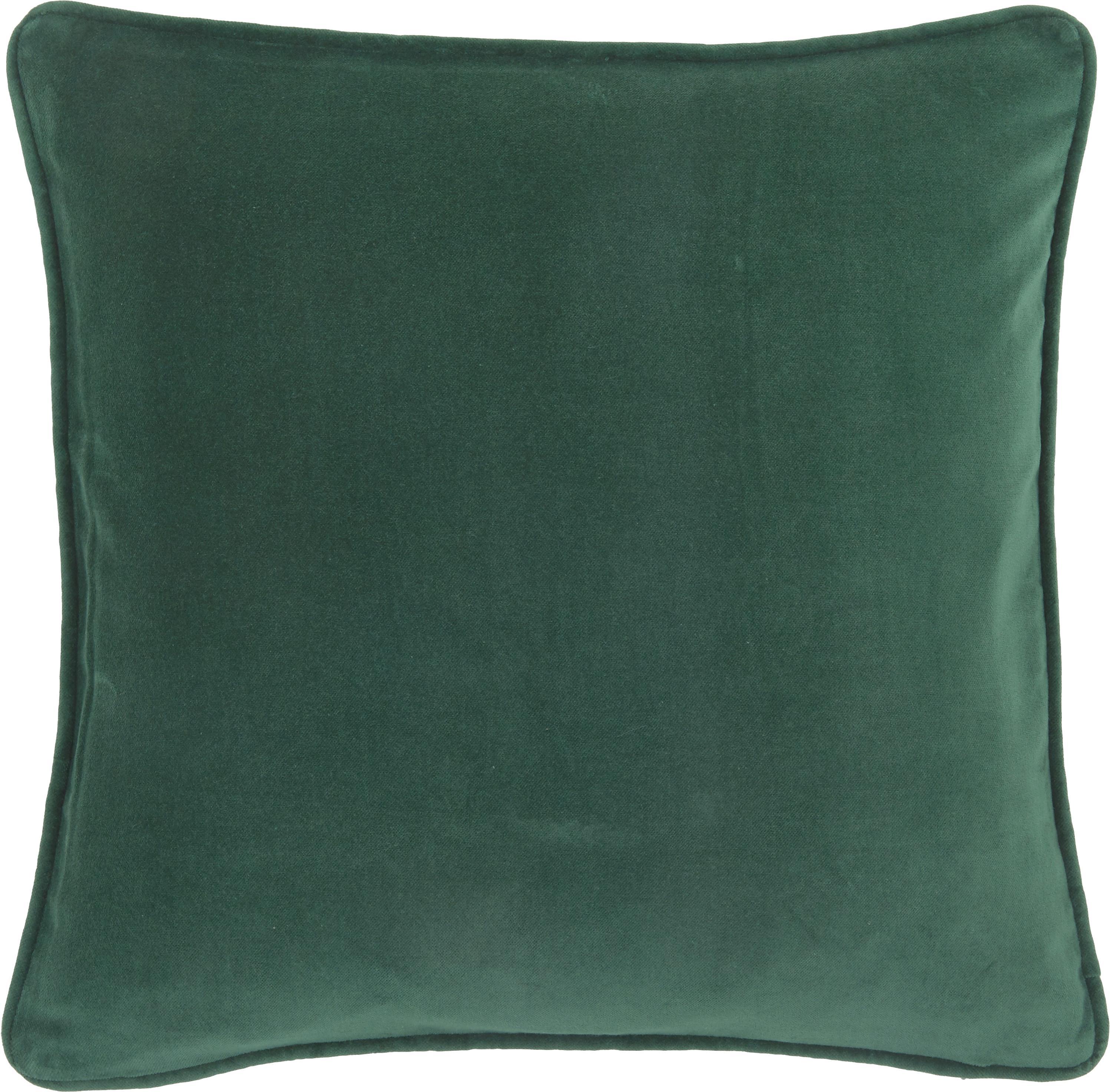 Federa arredo in velluto in verde smeraldo Dana, 100% velluto, Verde smeraldo, Larg. 50 x Lung. 50 cm