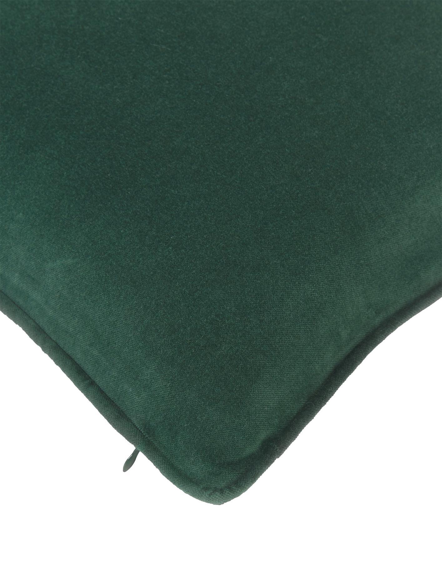 Funda de cojín de terciopelo Dana, Terciopelo de algodón, Verde esmeralda, An 50 x L 50 cm