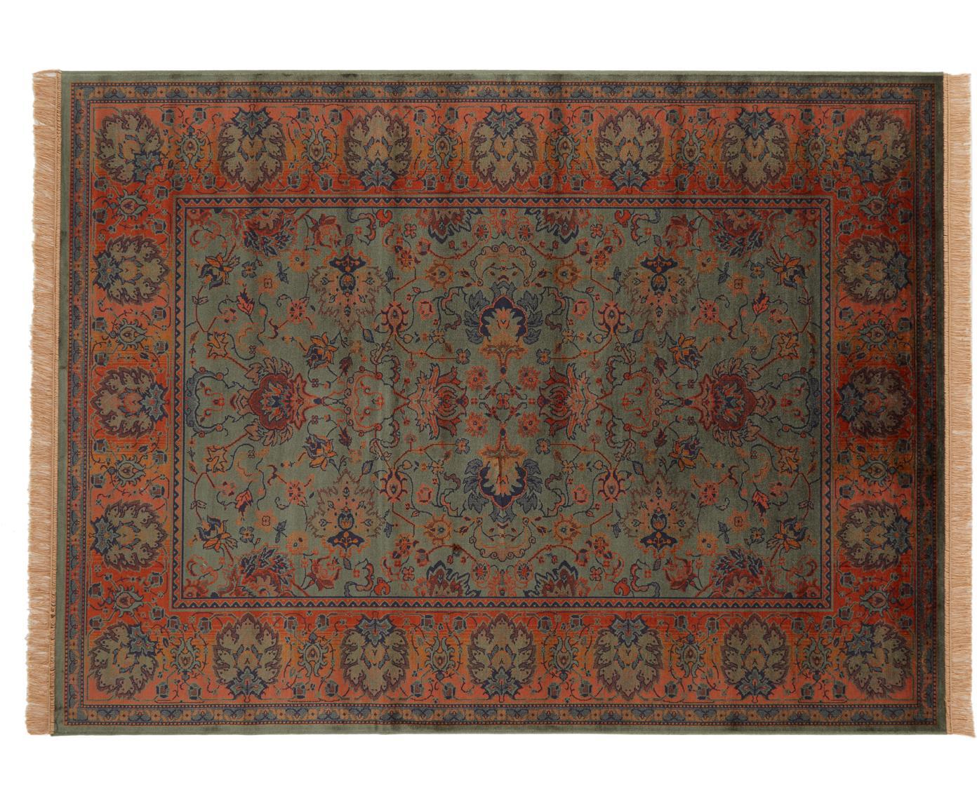 Tappeto a pelo corto con frange Bid, Verde, tonalità rosse, blu, beige, Larg. 200 x Lung. 300 cm (taglia L)