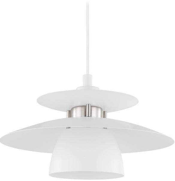 Lampada a sospensione Brenda, Paralume: metallo verniciato, Baldacchino: metallo verniciato, Bianco, Ø 32 x Alt. 110 cm