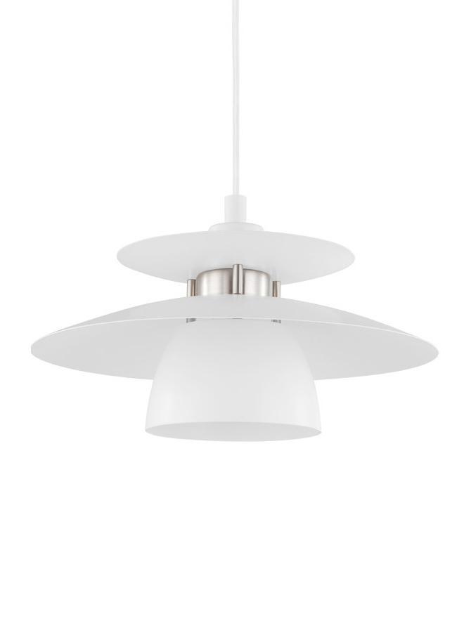 Pendelleuchte Brenda, Lampenschirm: Metall, lackiert, Baldachin: Metall, lackiert, Weiss, Ø 32 x H 110 cm