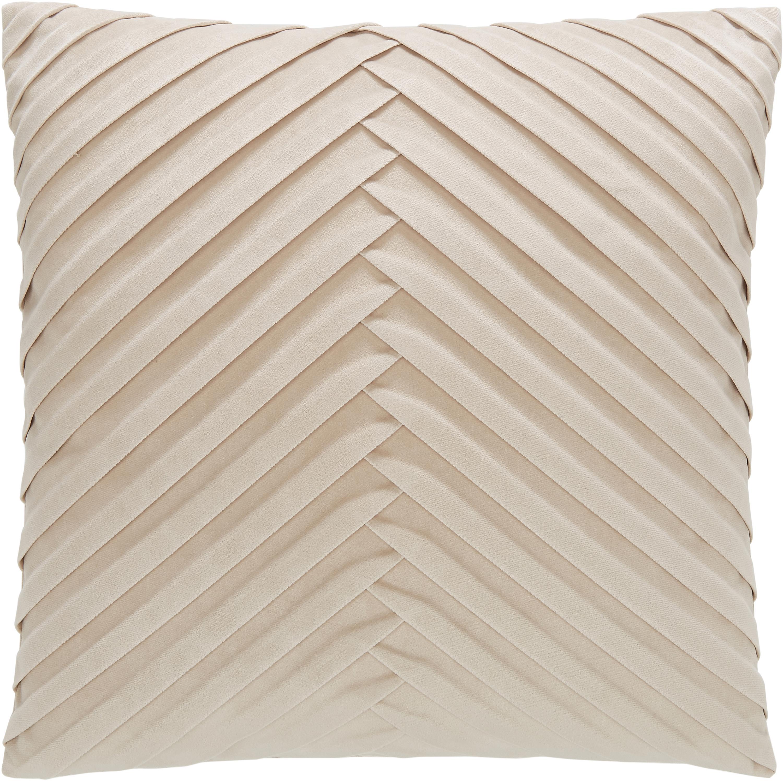 Fluwelen kussenhoes Lucie met gestructureerde oppervlak, 100% fluweel (polyester), Champagnekleurig, 45 x 45 cm