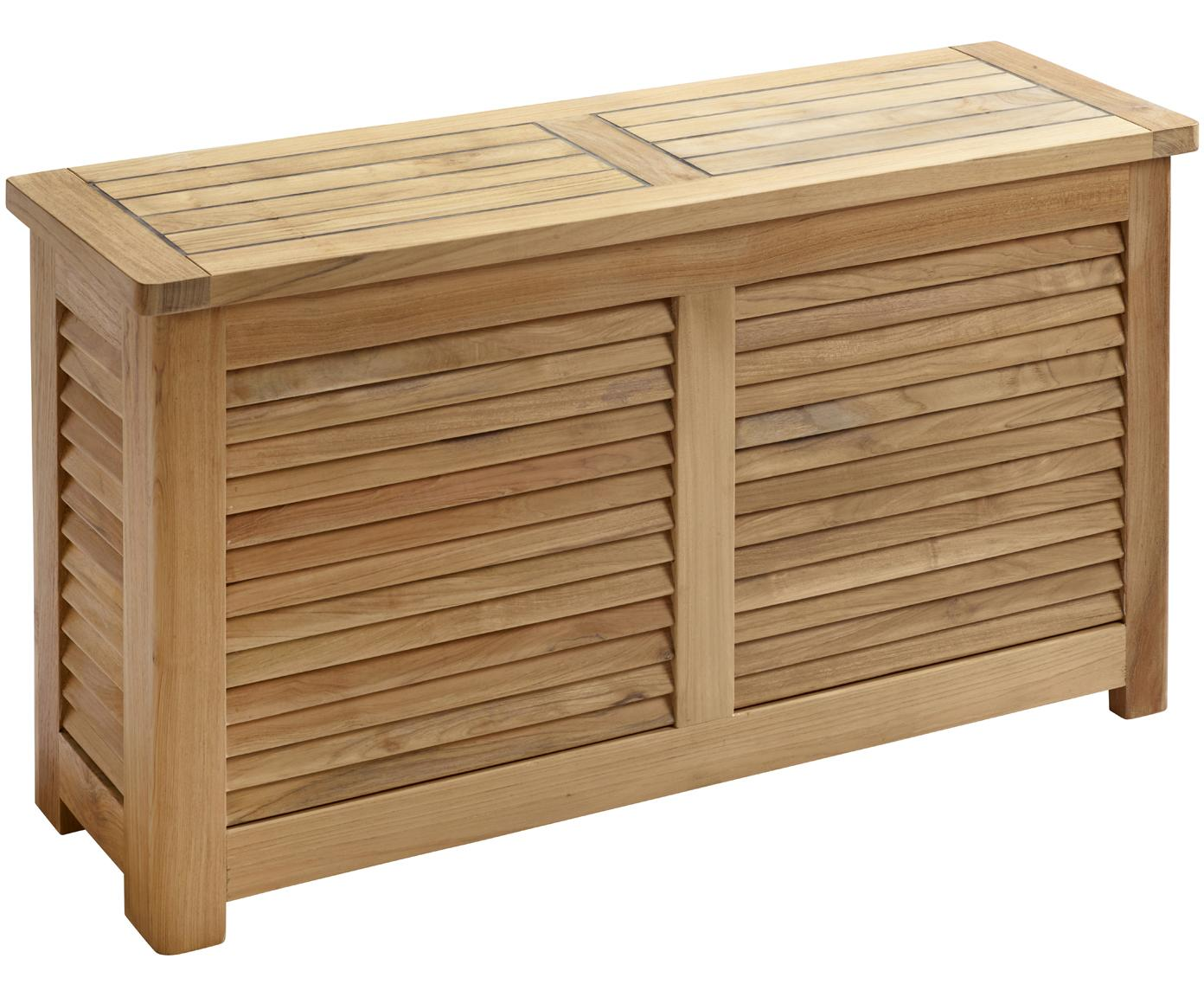 Smalle tuinbox Storage van hout, Frame: gepolijst teakhout, Teakhoutkleurig, 90 x 48 cm