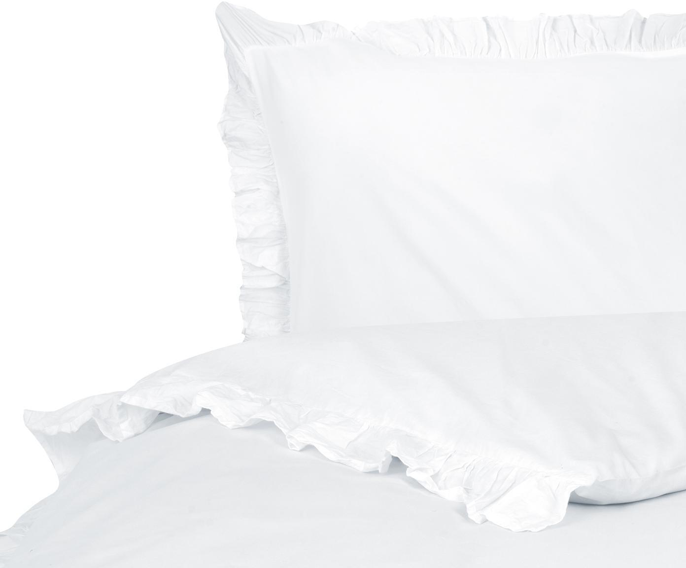 Gewaschene Baumwoll-Bettwäsche Florence mit Rüschen, Webart: Perkal Fadendichte 180 TC, Weiss, 135 x 200 cm + 1 Kissen 80 x 80 cm