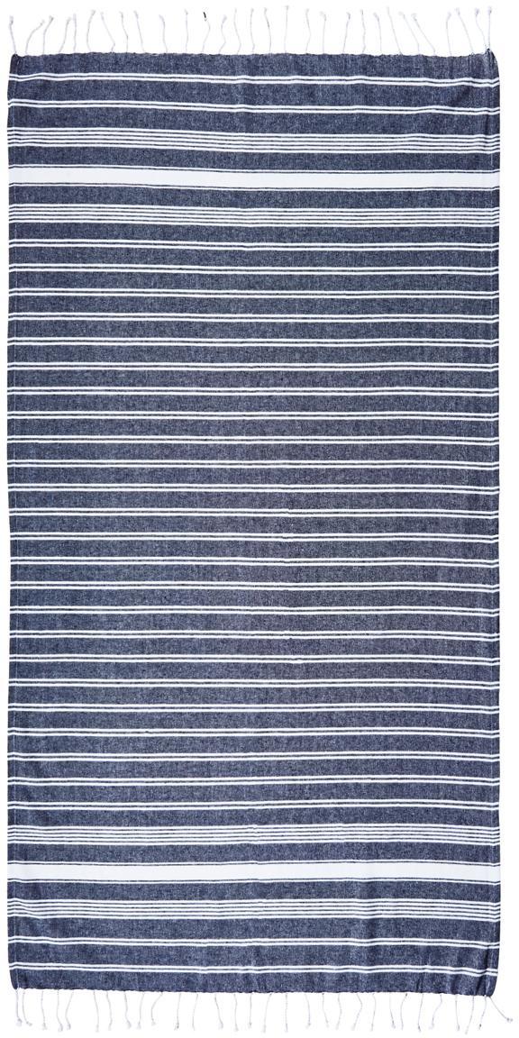 Fouta Surfside, 100%algodón, Azul oscuro, An 90 x L 170 cm