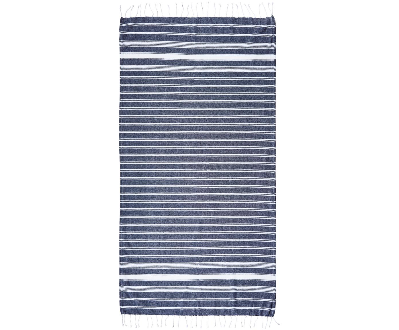 Telo mare Surfside, 100% cotone, Blu scuro, Larg. 90 x Lung. 170 cm