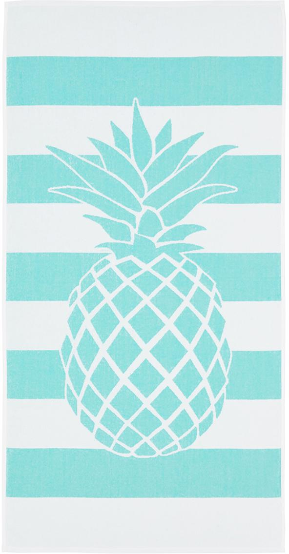 Telo mare a righe con motivo ananas Anas, Cotone Qualità leggera 380 g/m², Turchese, bianco, Larg. 80 x Lung. 160 cm