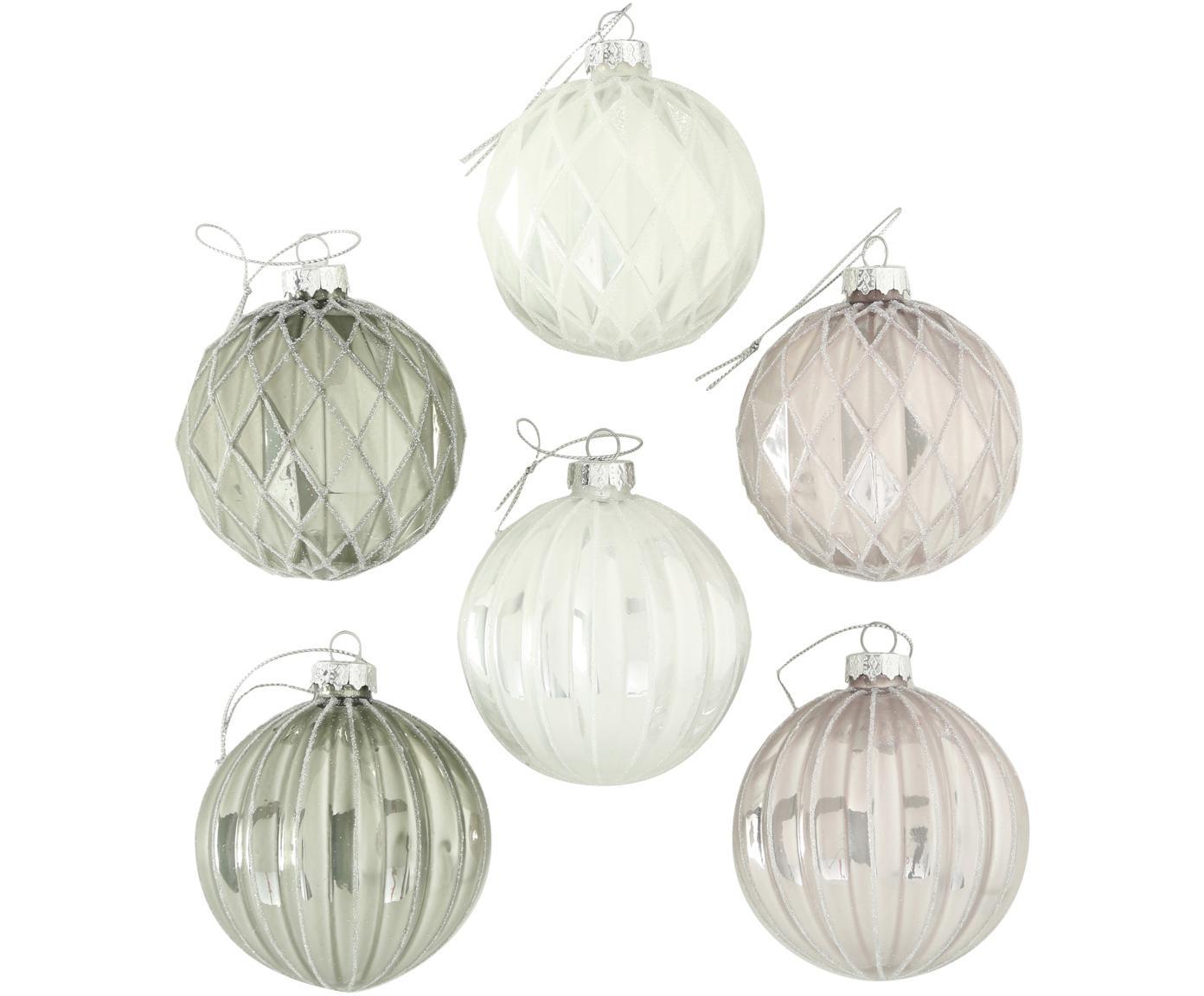 Kerstballenset Kubus, 6-delig, Wit, lichtroze, lichtgroen, Ø 8 x H 8 cm