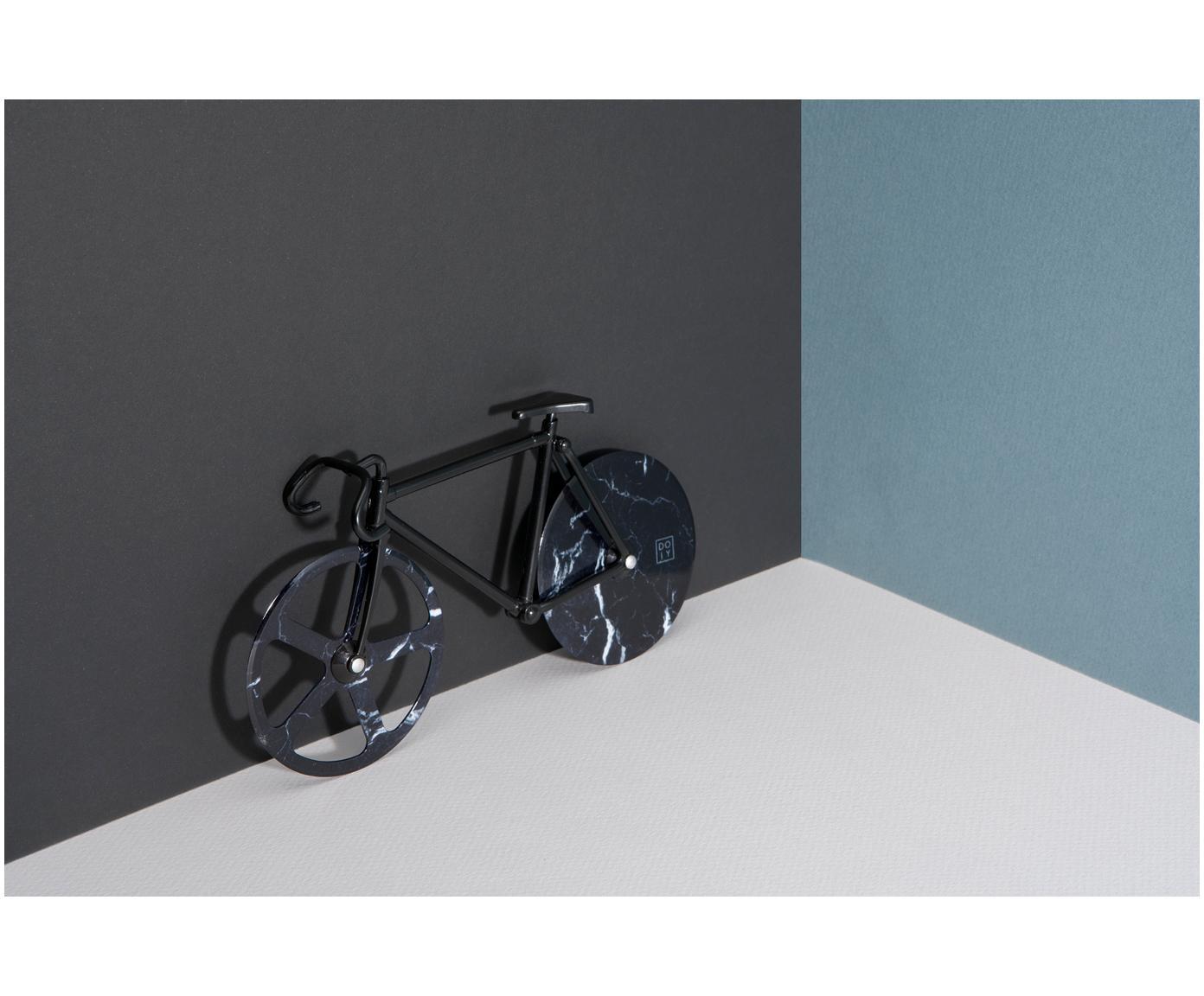 Schwarzer Pizzaschneider Velo im Fahrraddesign aus Edelstahl, Edelstahl, beschichtet, Schwarz, marmoriert, 23 x 13 cm